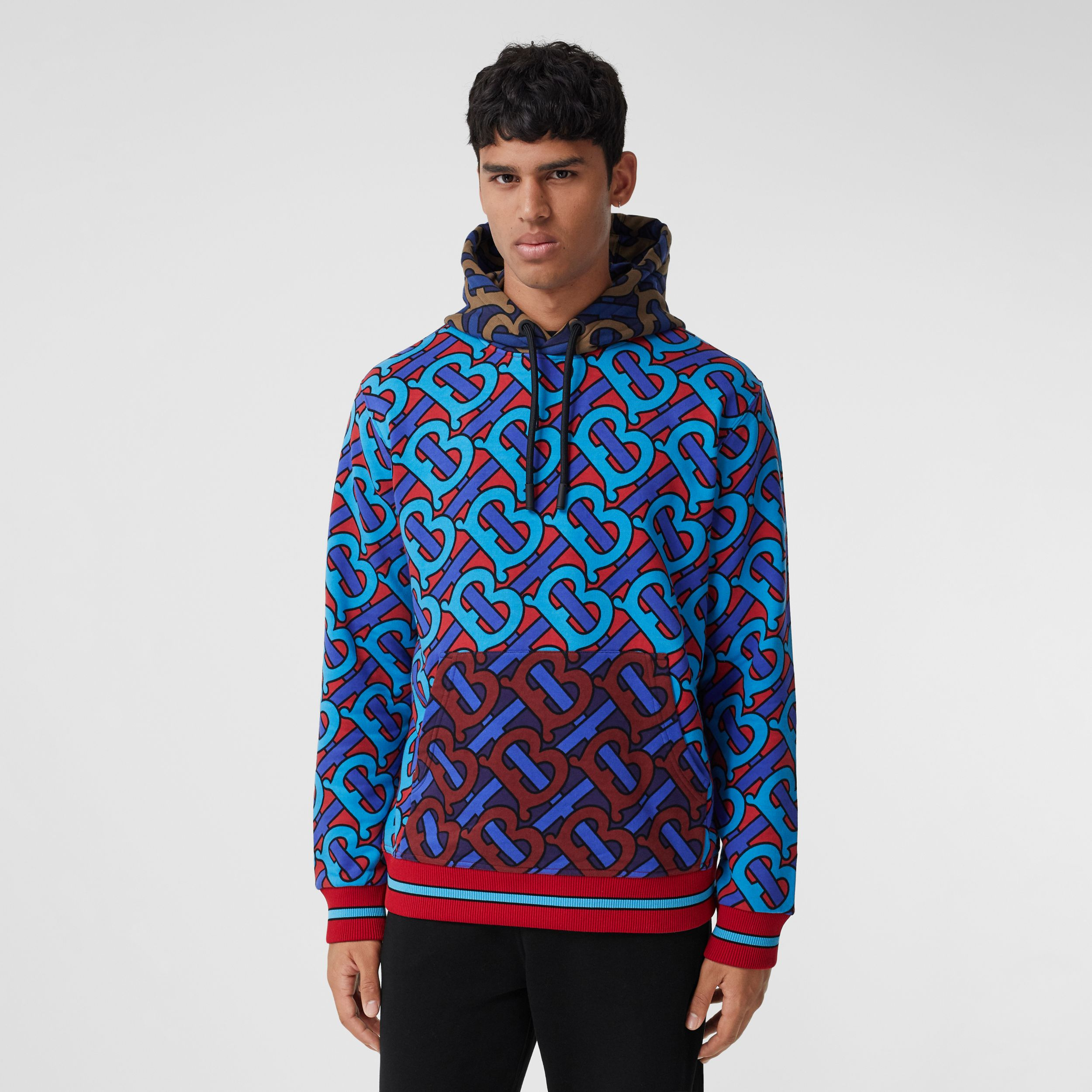 Monogram Print Cotton Hoodie in Bright Cherry Red - Men | Burberry - 1