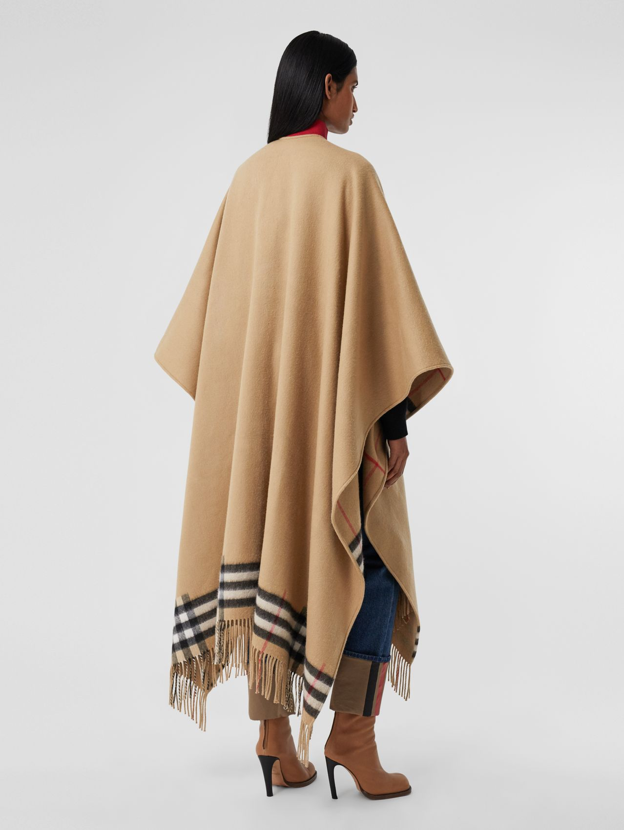 Check-lined Cashmere Merino Wool Cape in Archive Beige