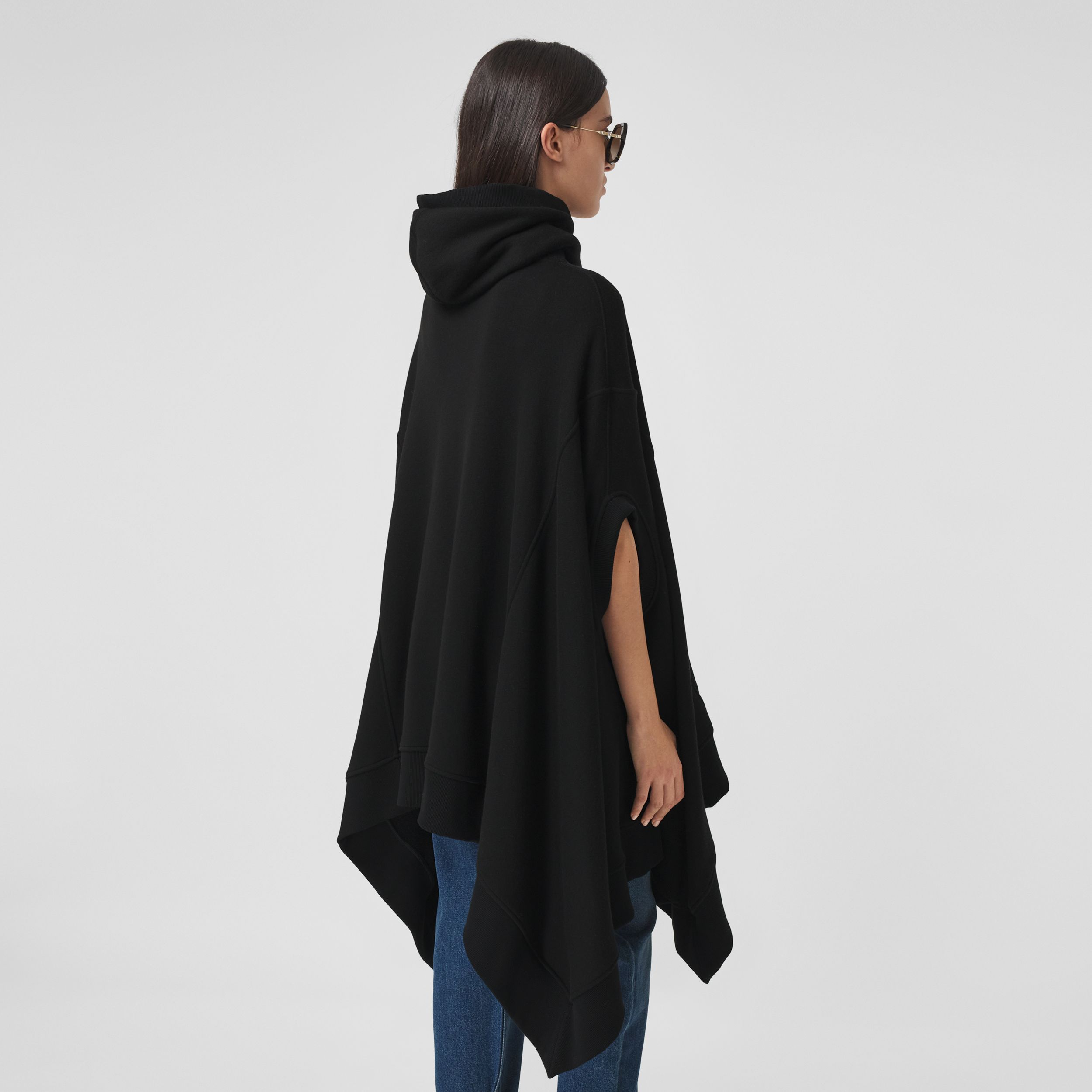 Cut-out Sleeve Jersey Hooded Cape in Black - Women | Burberry - 3