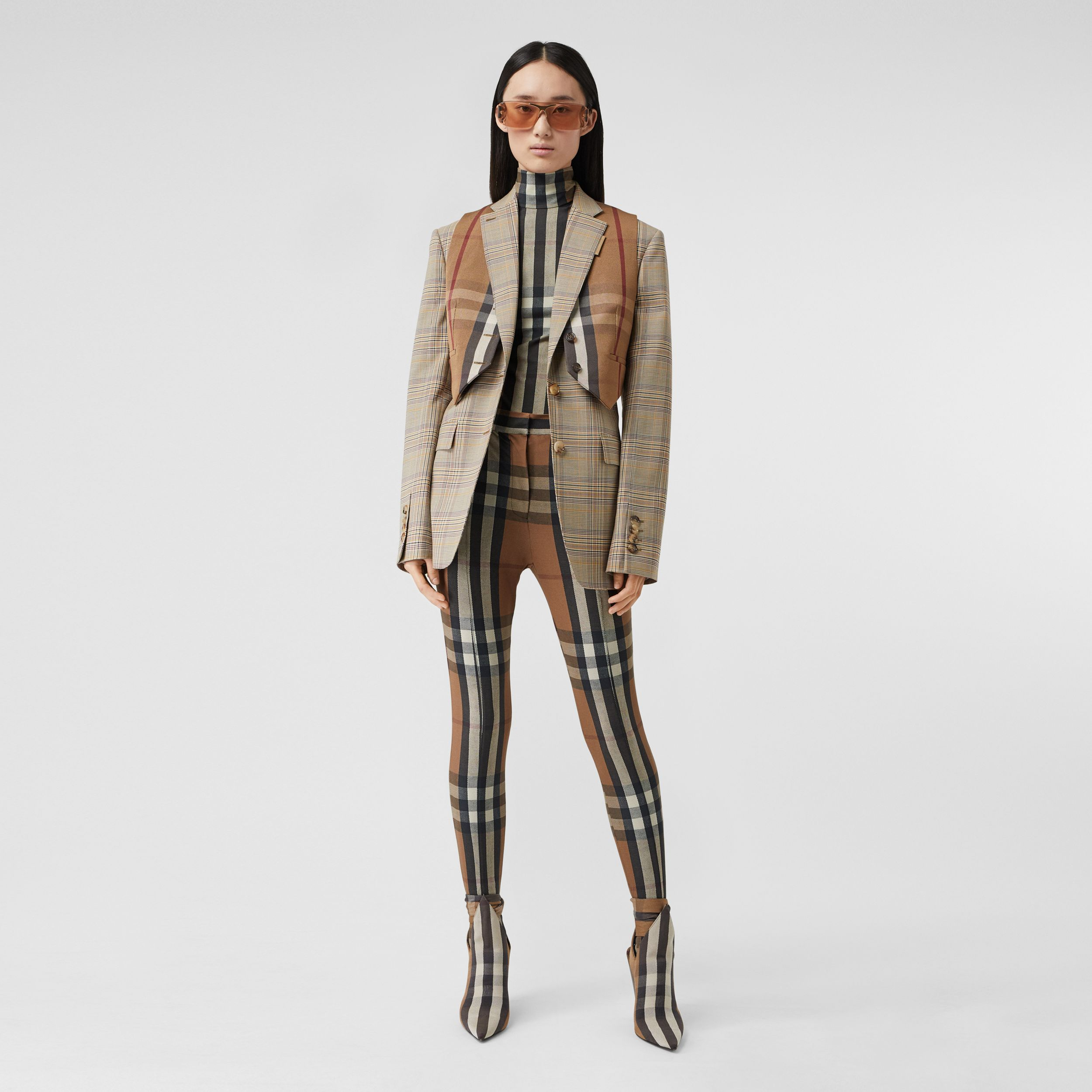 Check Wool Oversized Tailored Jacket in Dark Honey - Women | Burberry - 1