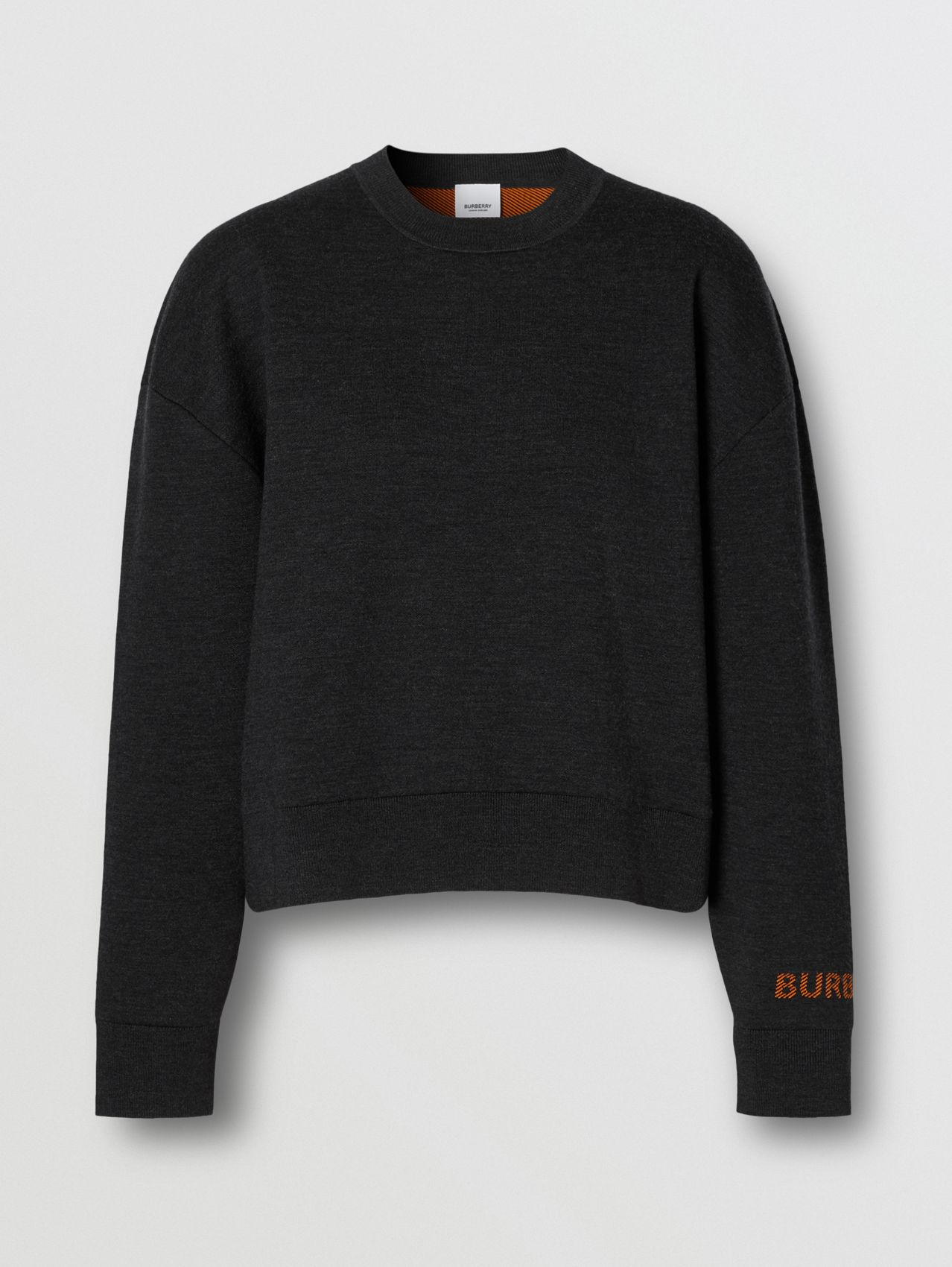 Logo Technical Merino Wool Jacquard Sweater in Charcoal Melange