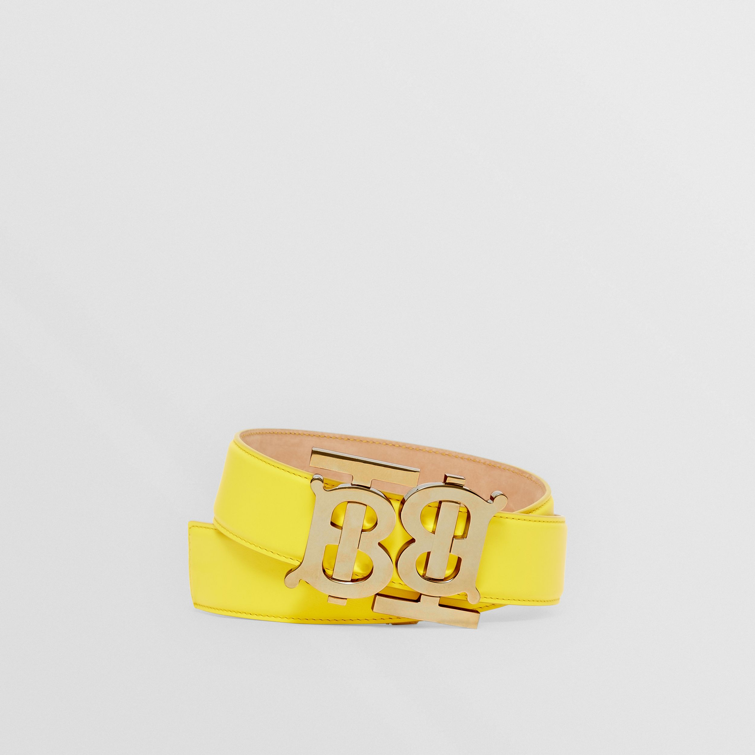 Double Monogram Motif Leather Belt in Marigold Yellow - Women | Burberry - 1