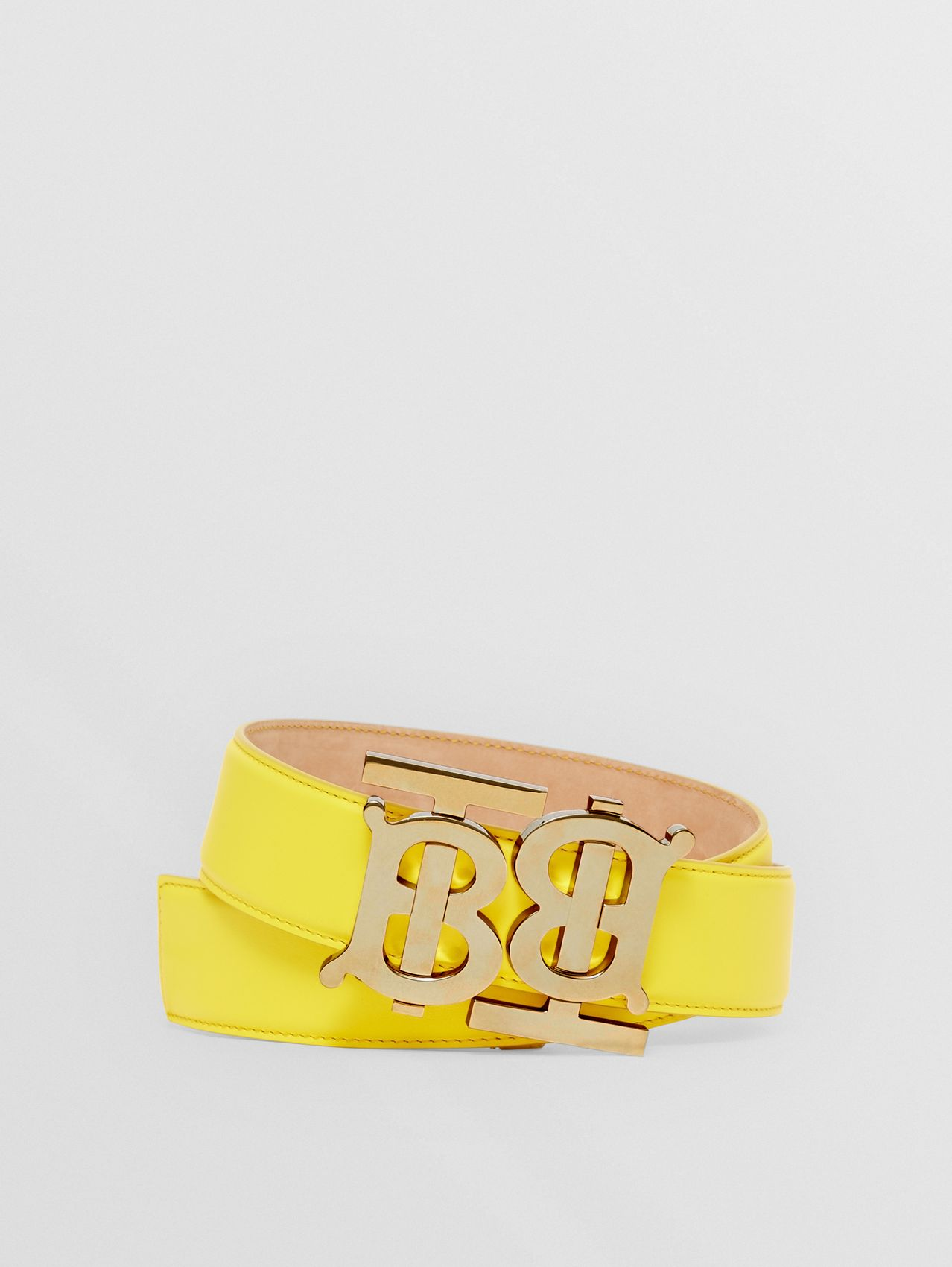 Double Monogram Motif Leather Belt in Marigold Yellow