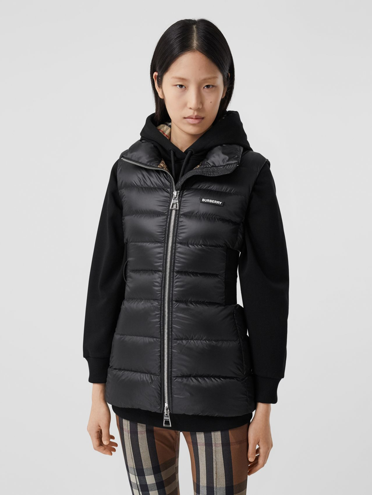 Rib Knit Panel ECONYL® Puffer Gilet in Black
