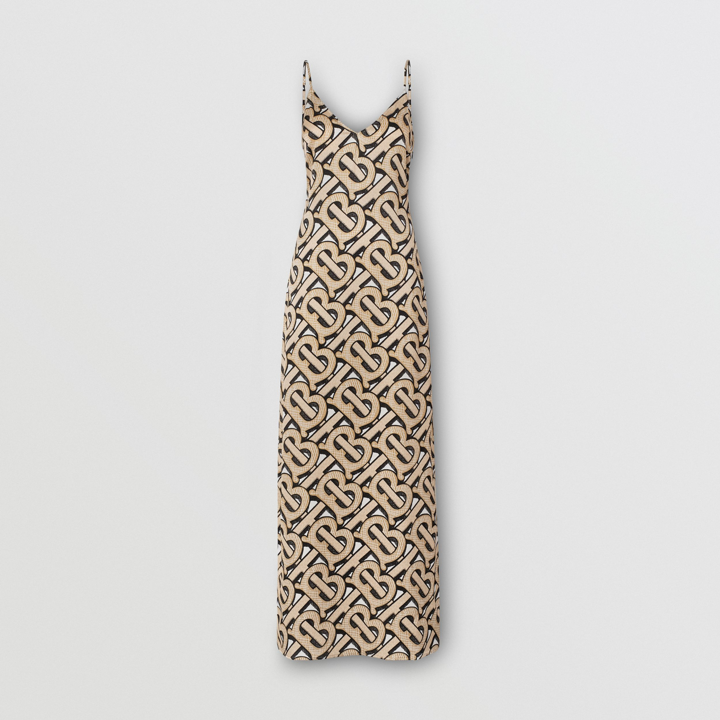 Monogram Print Silk Satin Slip Dress in Dark Beige - Women | Burberry - 4