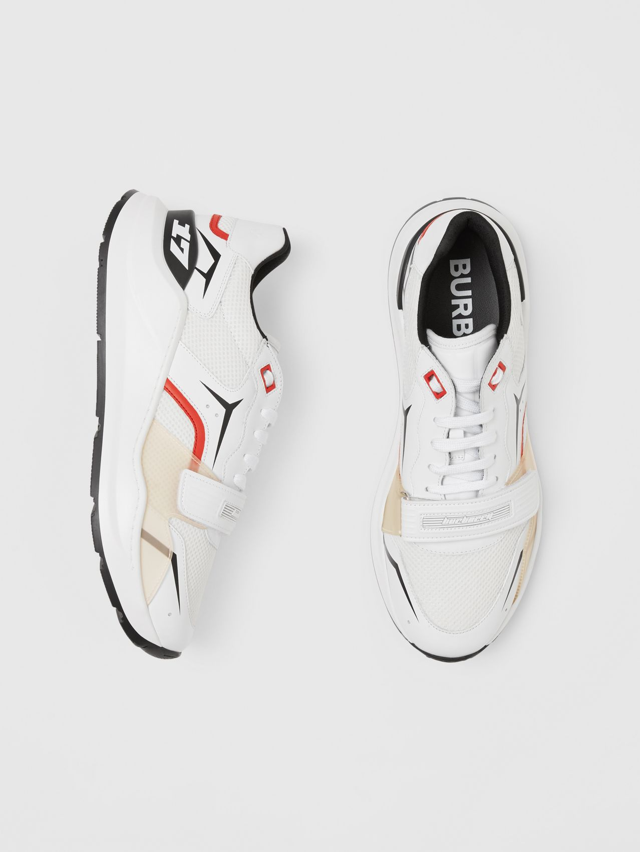 Leather and Mesh Sneakers (White)