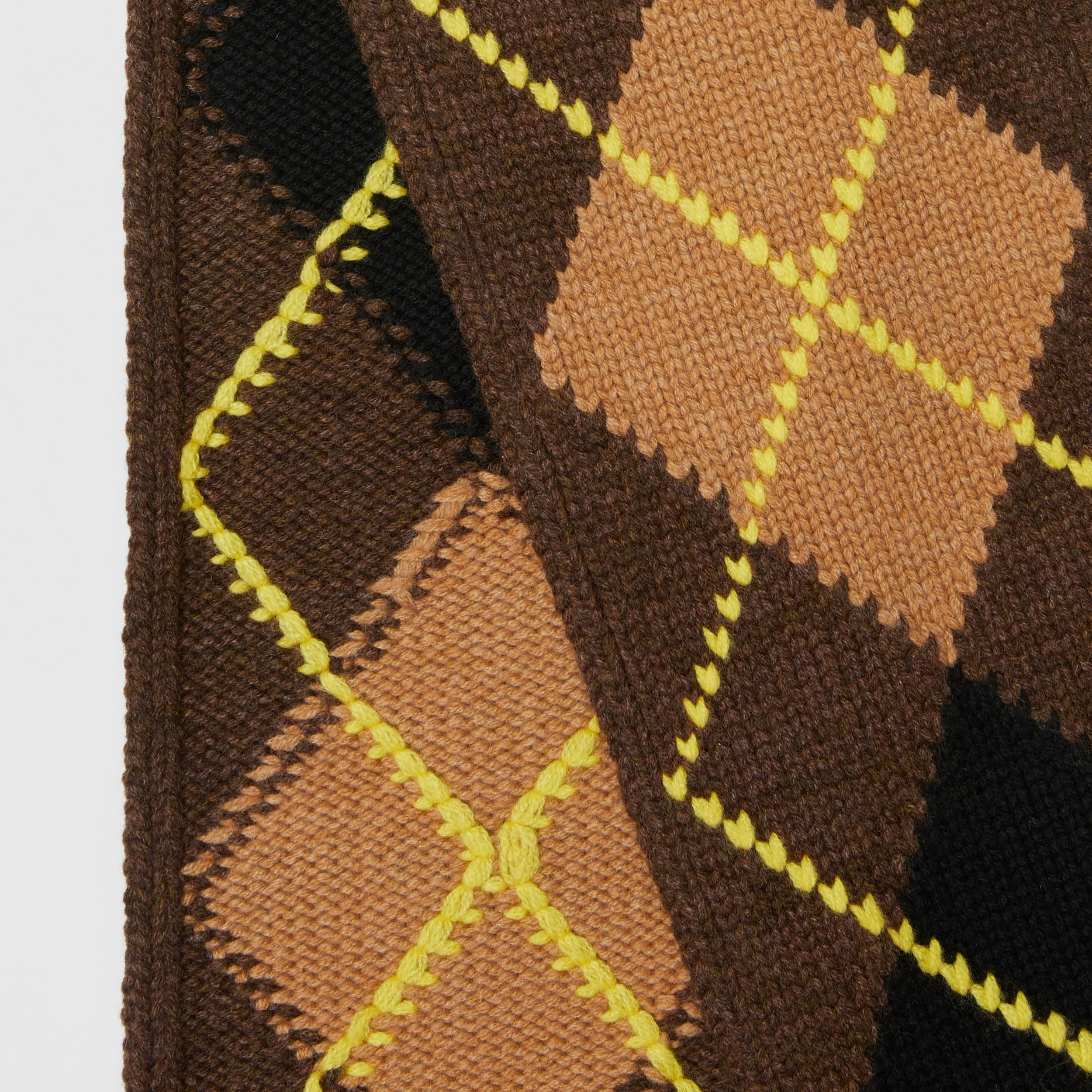 Argyle Intarsia Wool Cashmere Scarf in Brown | Burberry - 2
