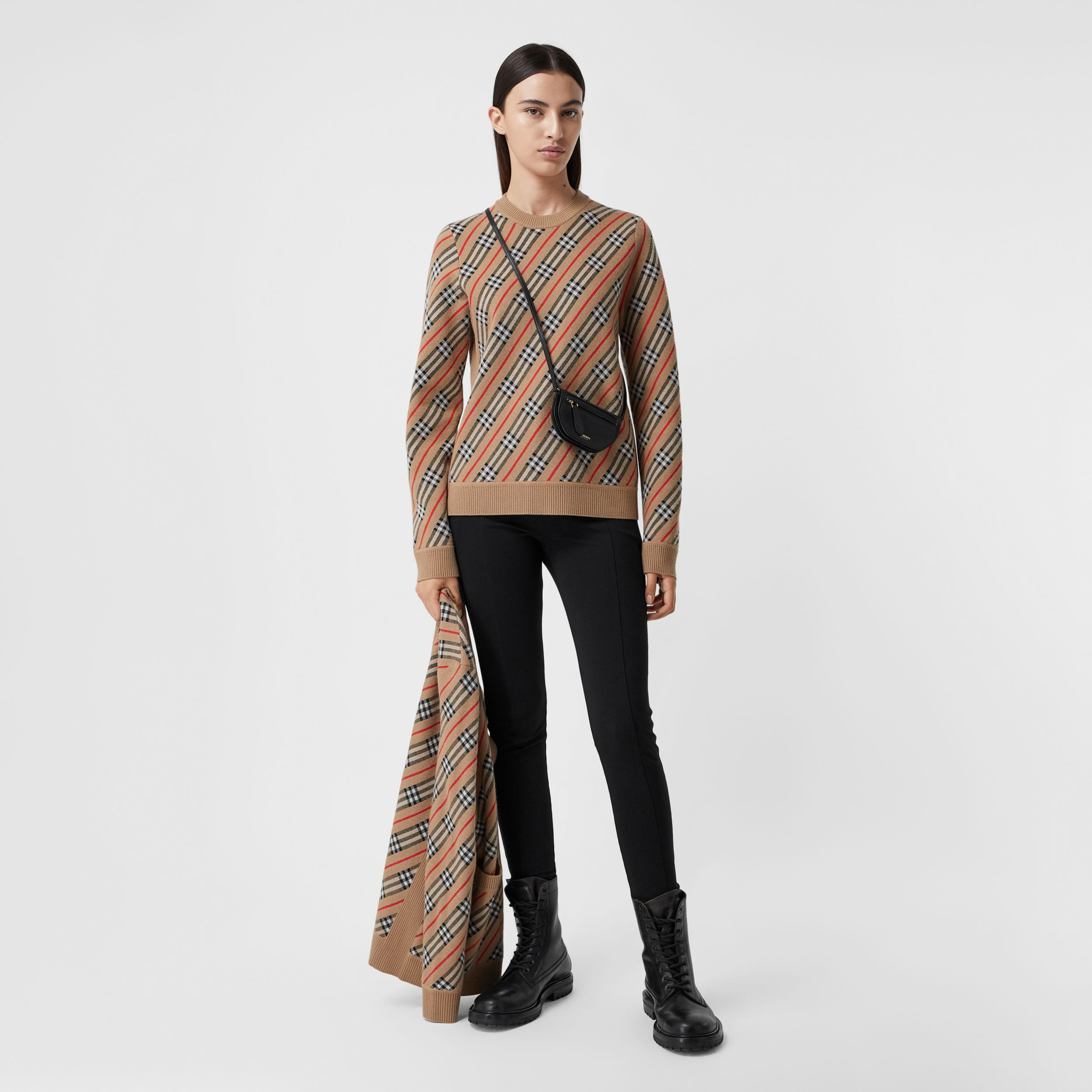 Stripe Merino Wool Blend Sweater in Camel - Women | Burberry Canada - 1