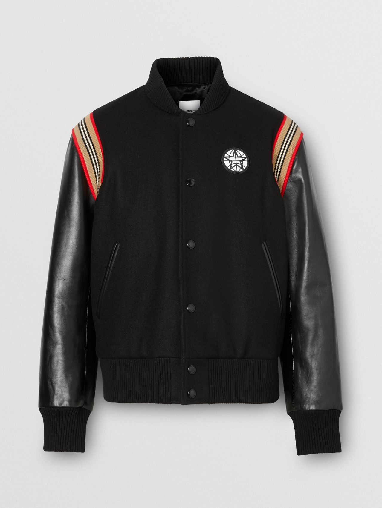 Icon Stripe Trim Wool Felt and Leather Bomber Jacket