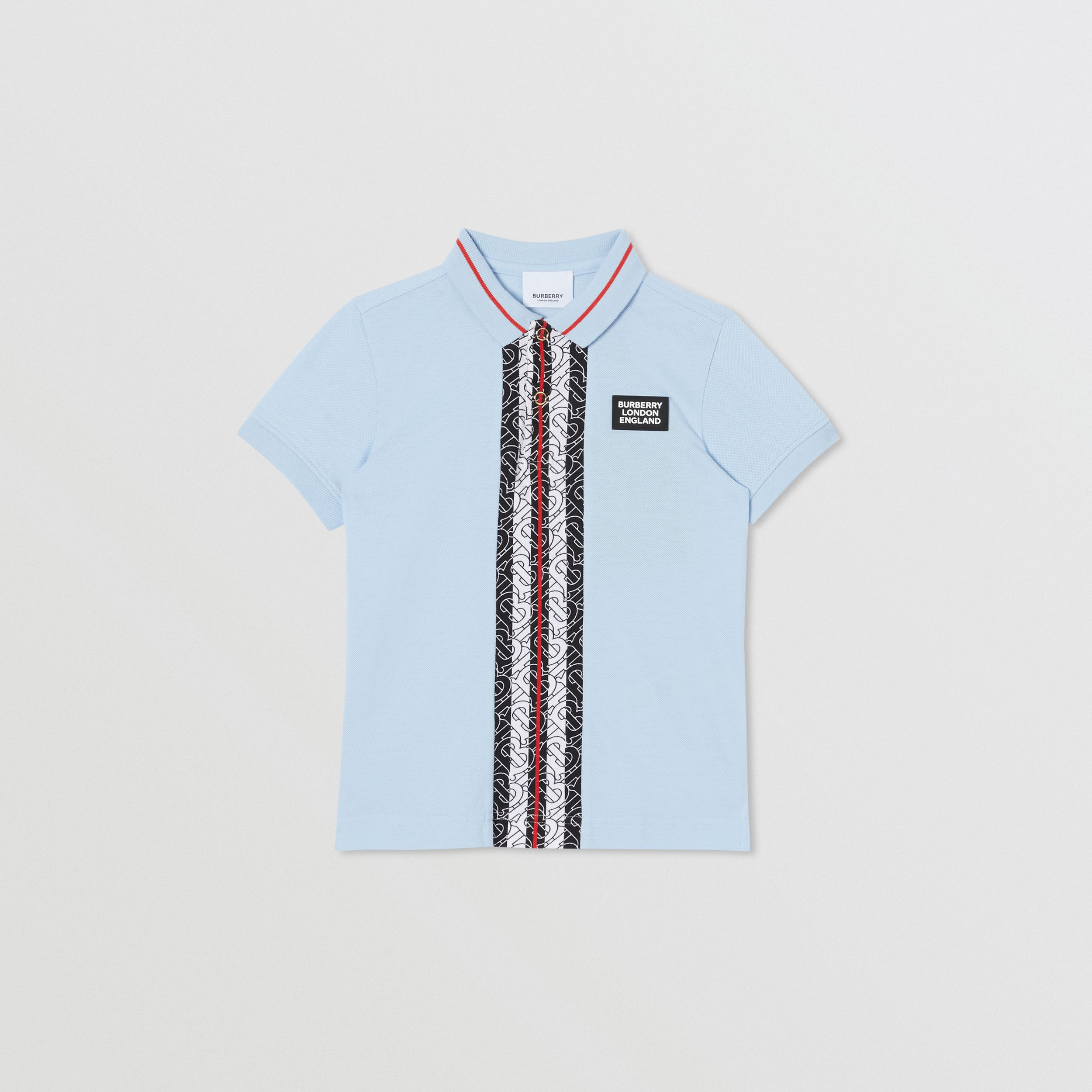 Monogram Stripe Print Cotton Piqué Polo Shirt in Pale Blue | Burberry - 1