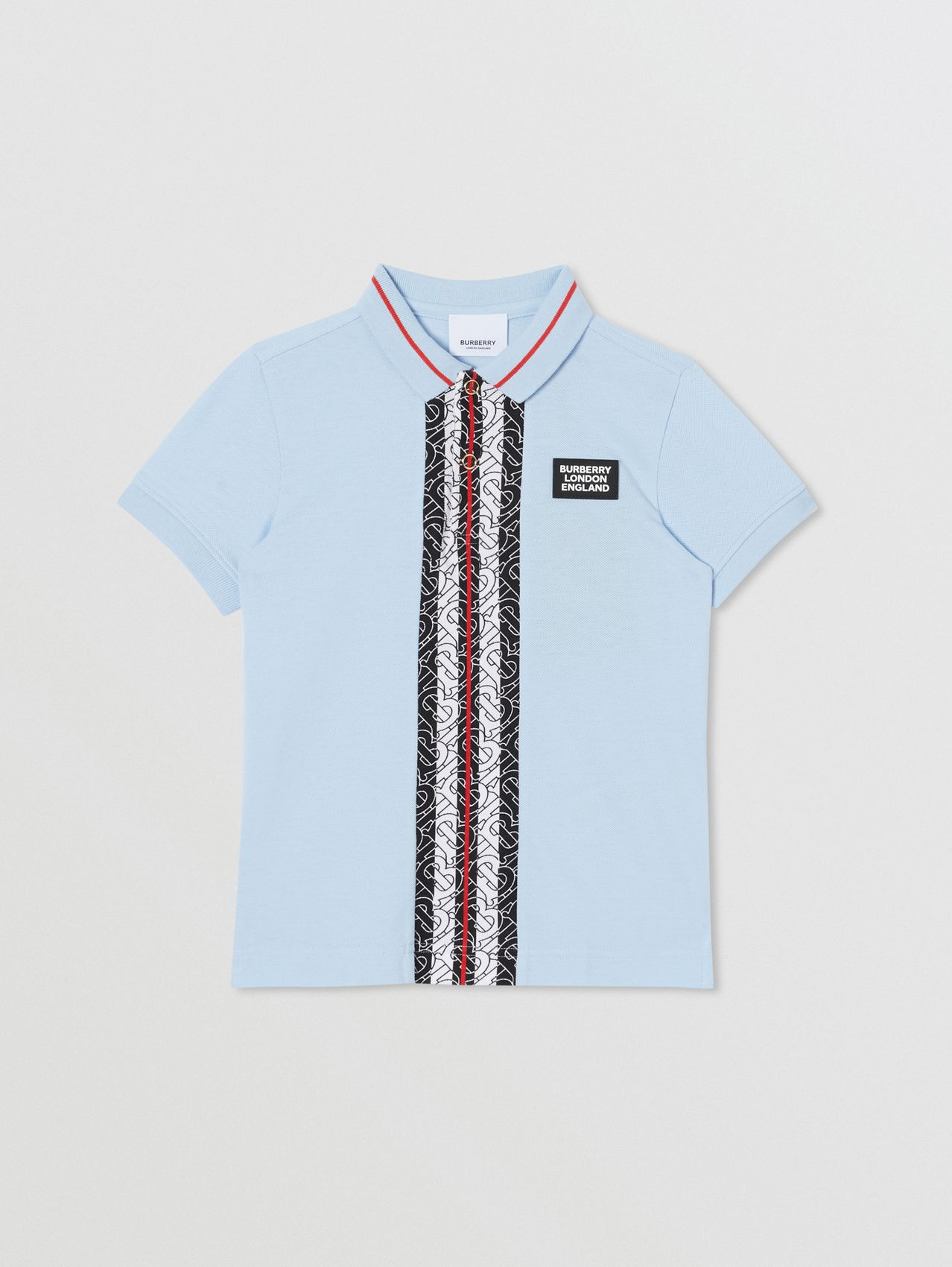 Monogram Stripe Print Cotton Piqué Polo Shirt (Pale Blue)