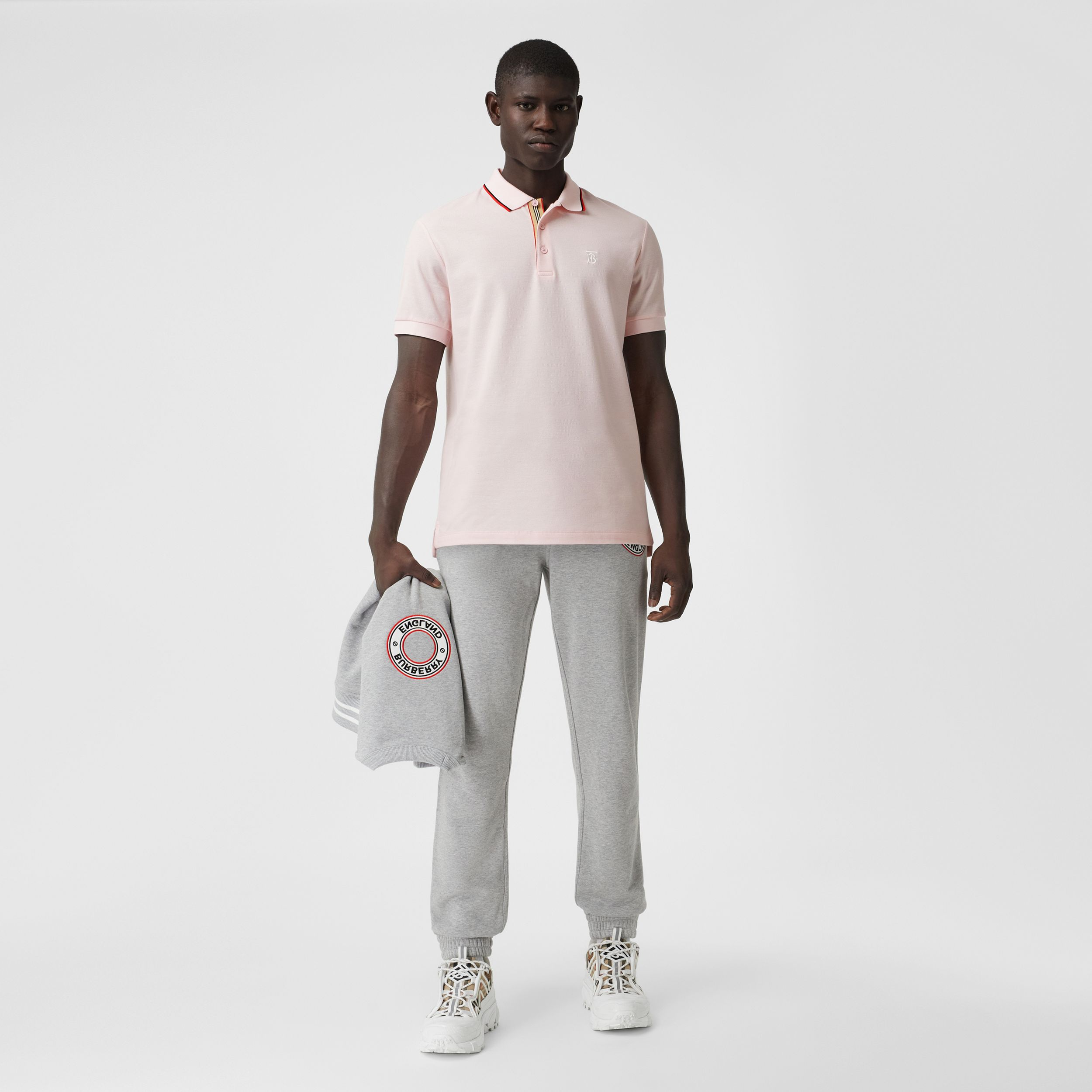 Monogram Motif Cotton Piqué Polo Shirt in Frosted Pink - Men | Burberry - 4