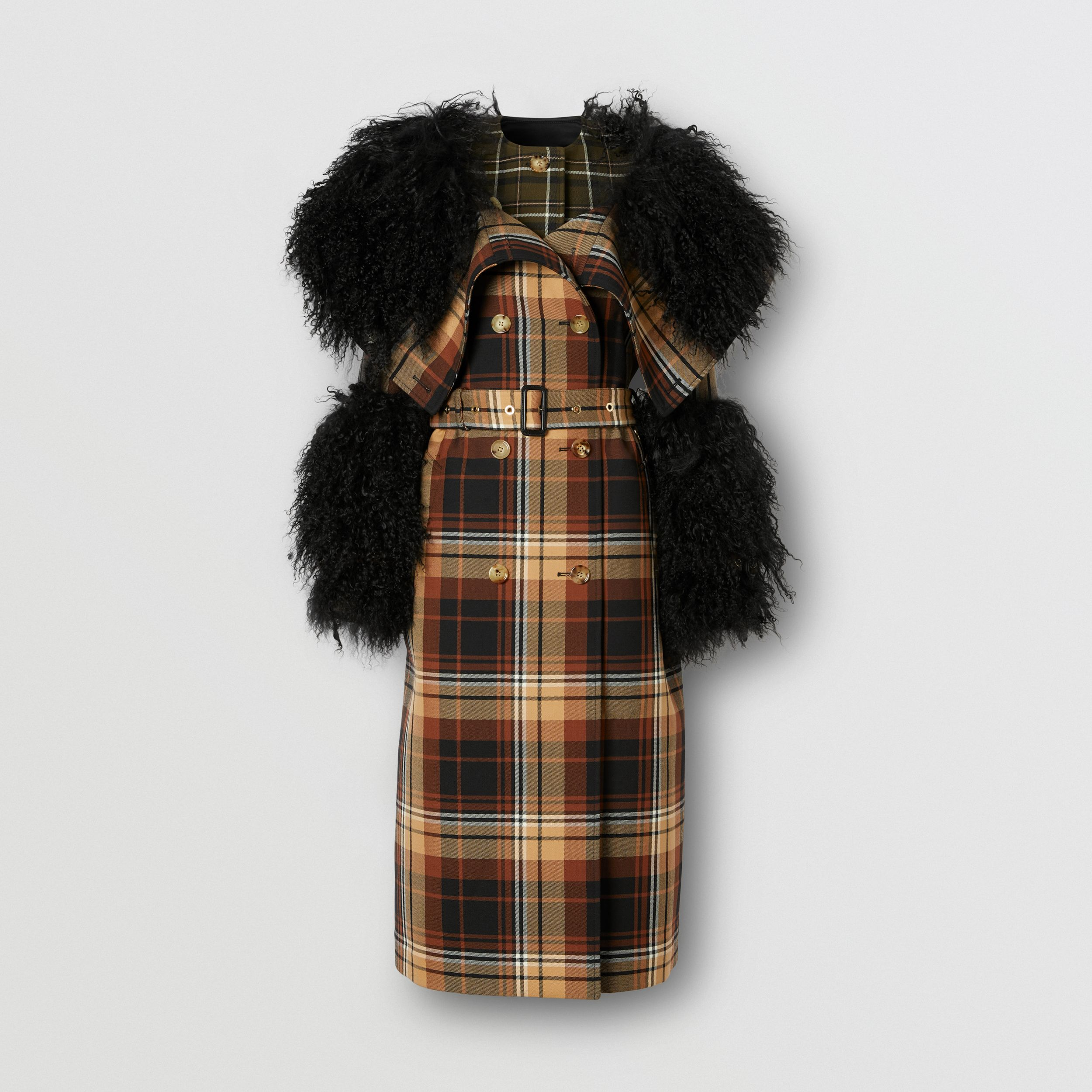Trench coat in lana con motivi tartan a contrasto e finiture in shearling (Nero/arancione) - Donna | Burberry - 4