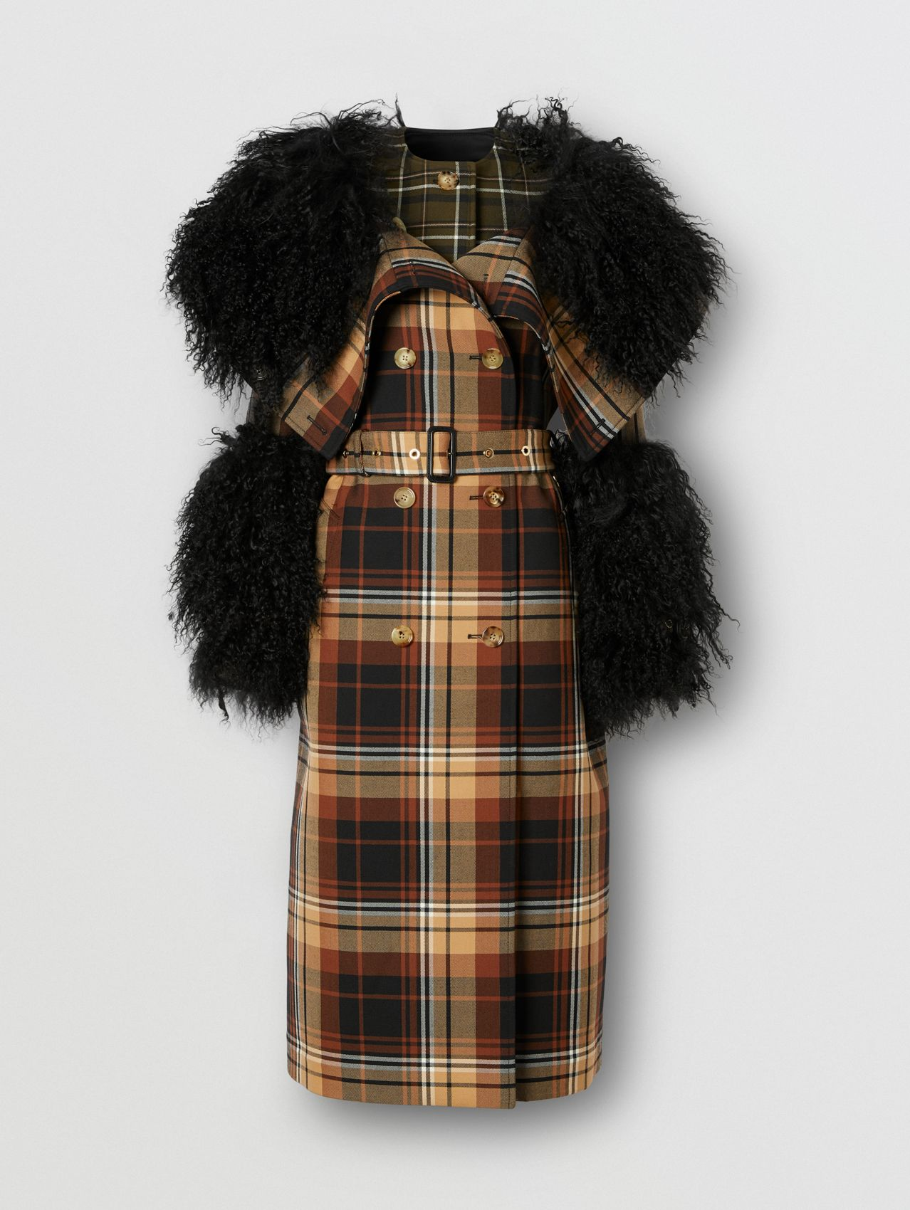 Trench coat in lana con motivi tartan a contrasto e finiture in shearling (Nero/arancione)