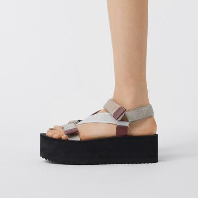 Logo Jacquard Sandals in Archive Beige