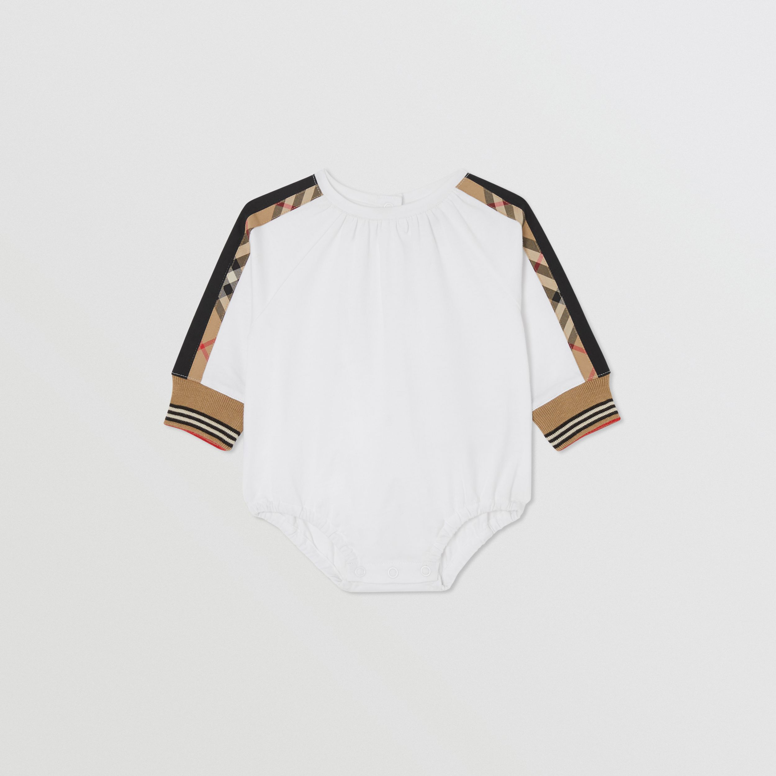 Vintage Check Detail Cotton Bodysuit in White - Children | Burberry - 1