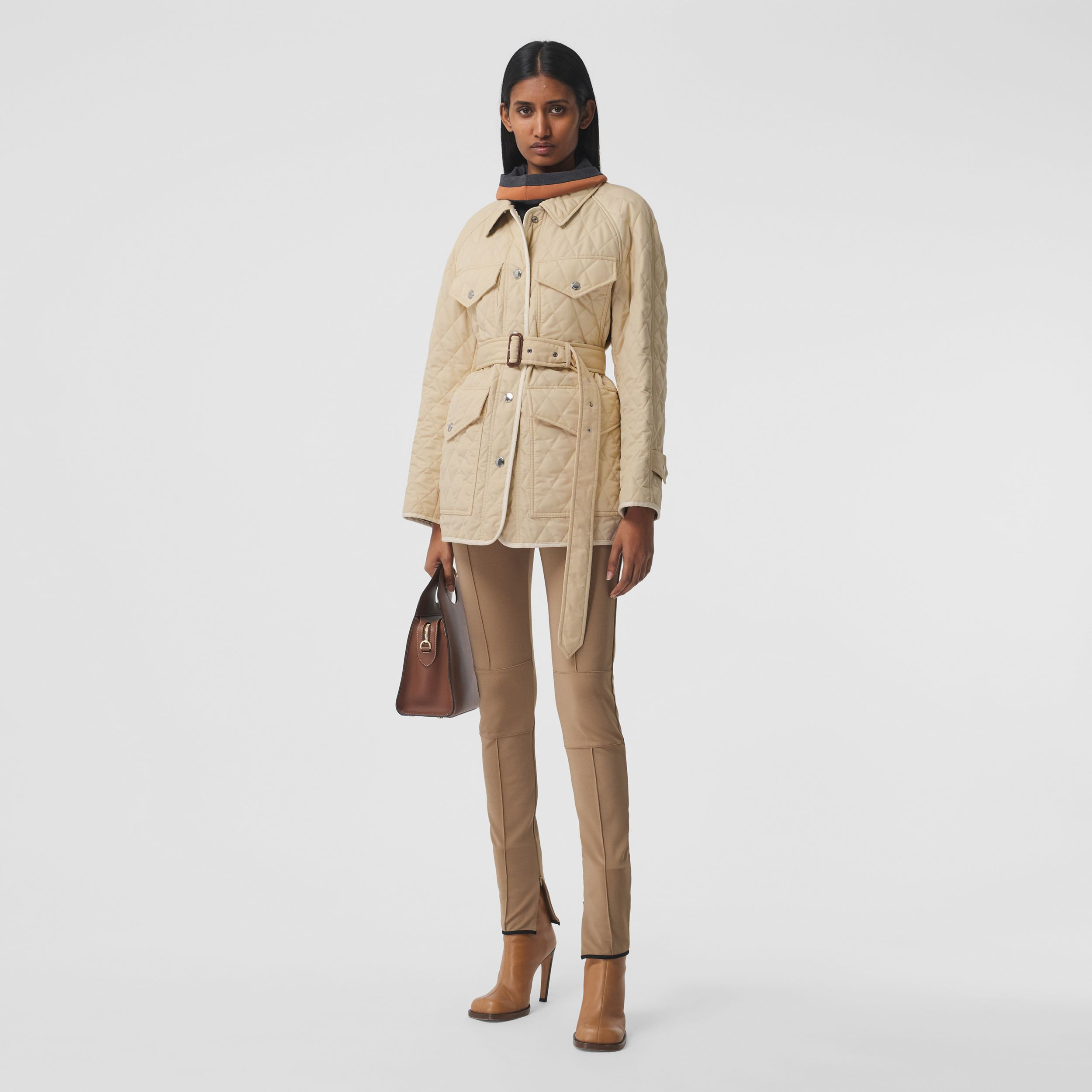 Diamond Quilted Nylon Canvas Field Jacket in Sesame - Women | Burberry - 1