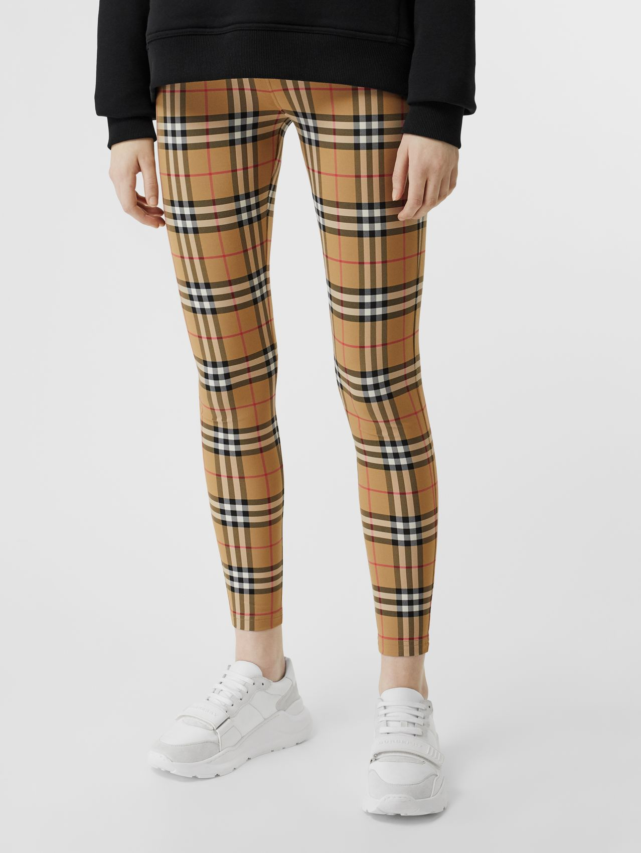 Logo Detail Vintage Check Leggings in Antique Yellow