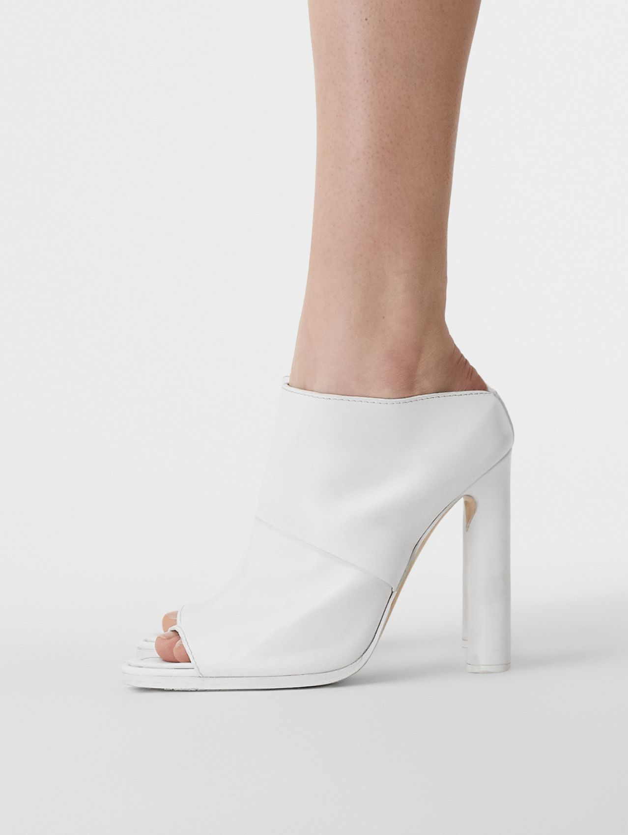Leather Peep-toe Mules in Optic White