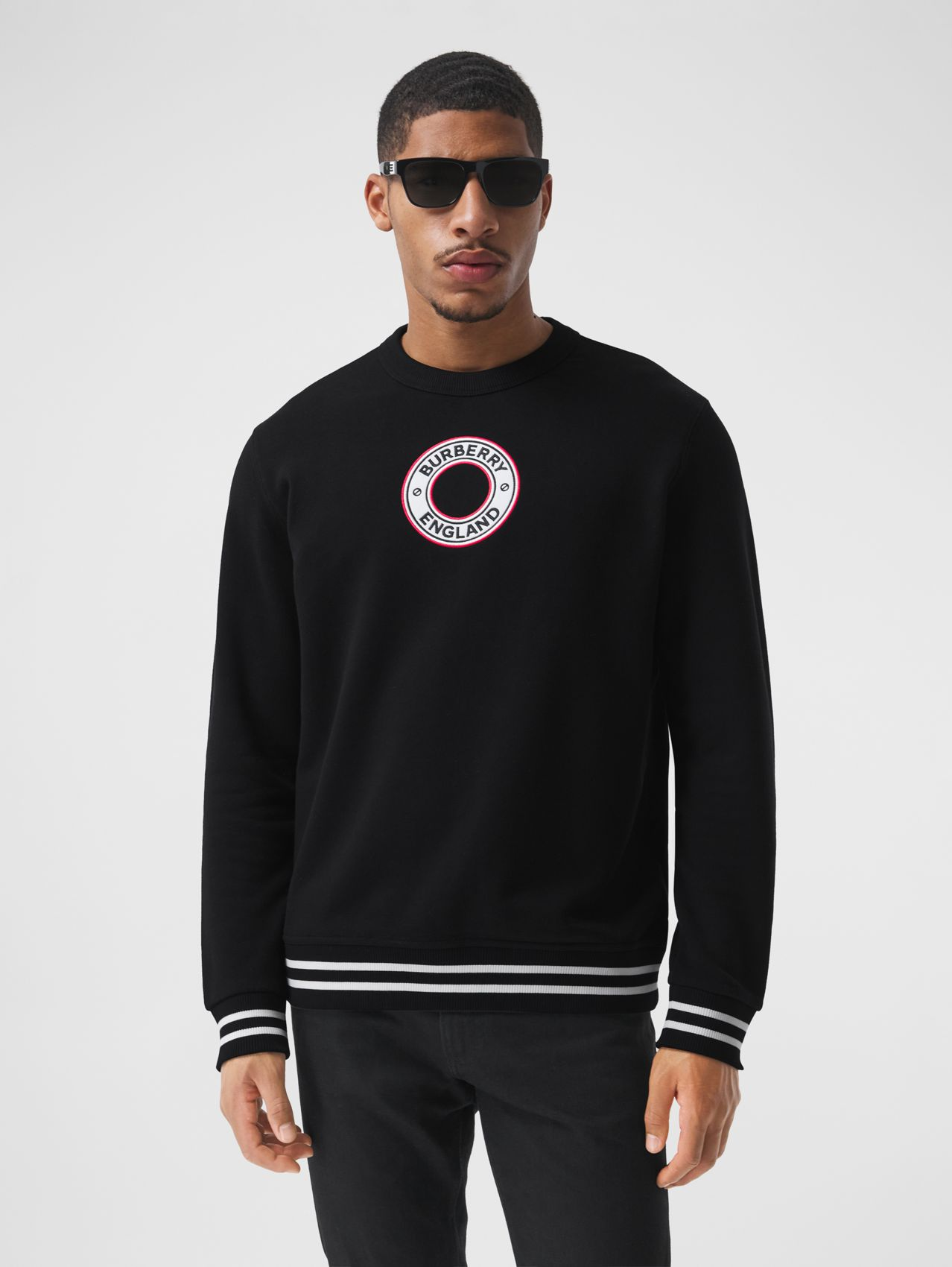 Logo Graphic Appliqué Cotton Sweatshirt in Black
