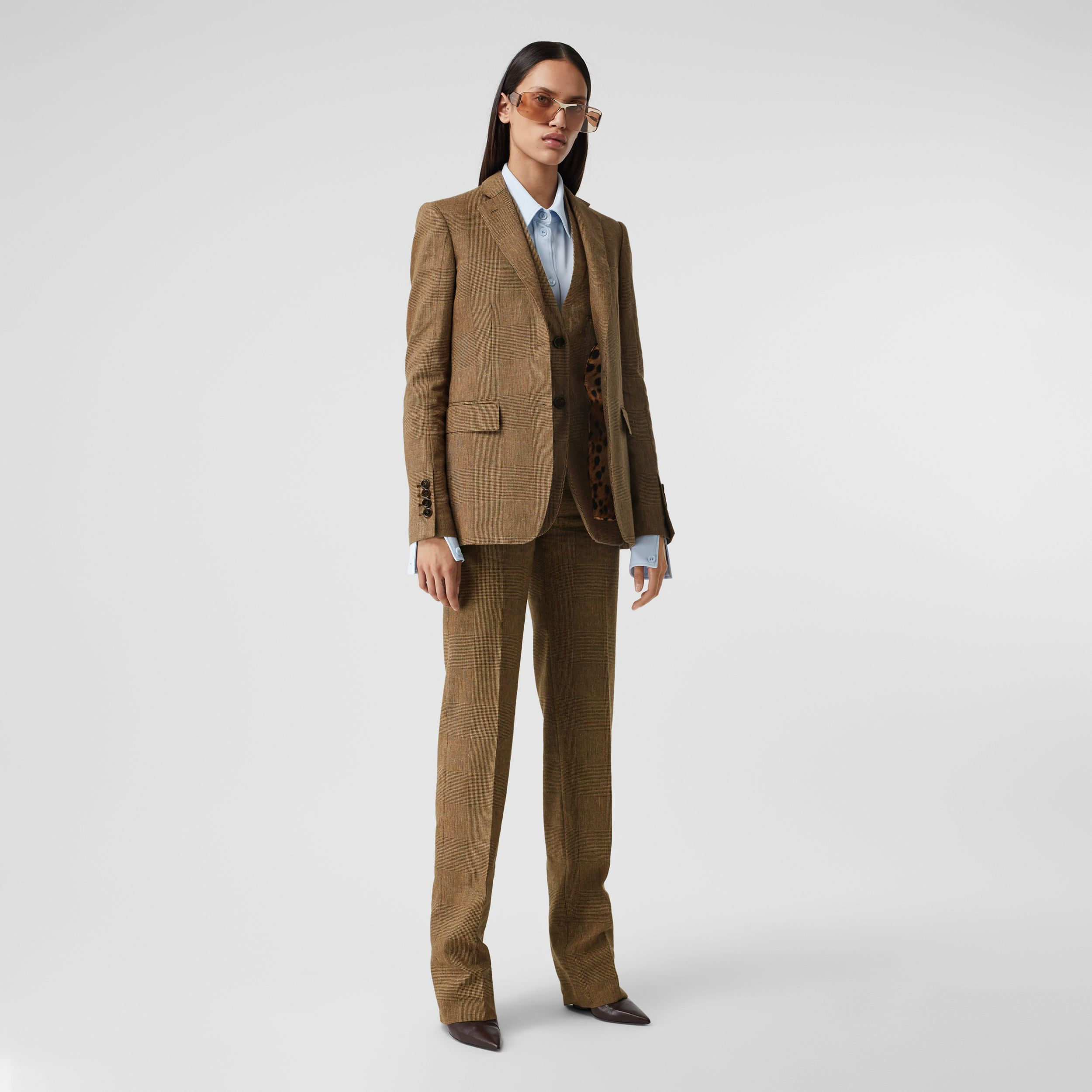 Prince of Wales Check Linen Wool Cashmere Trousers in Brown - Women | Burberry - 1