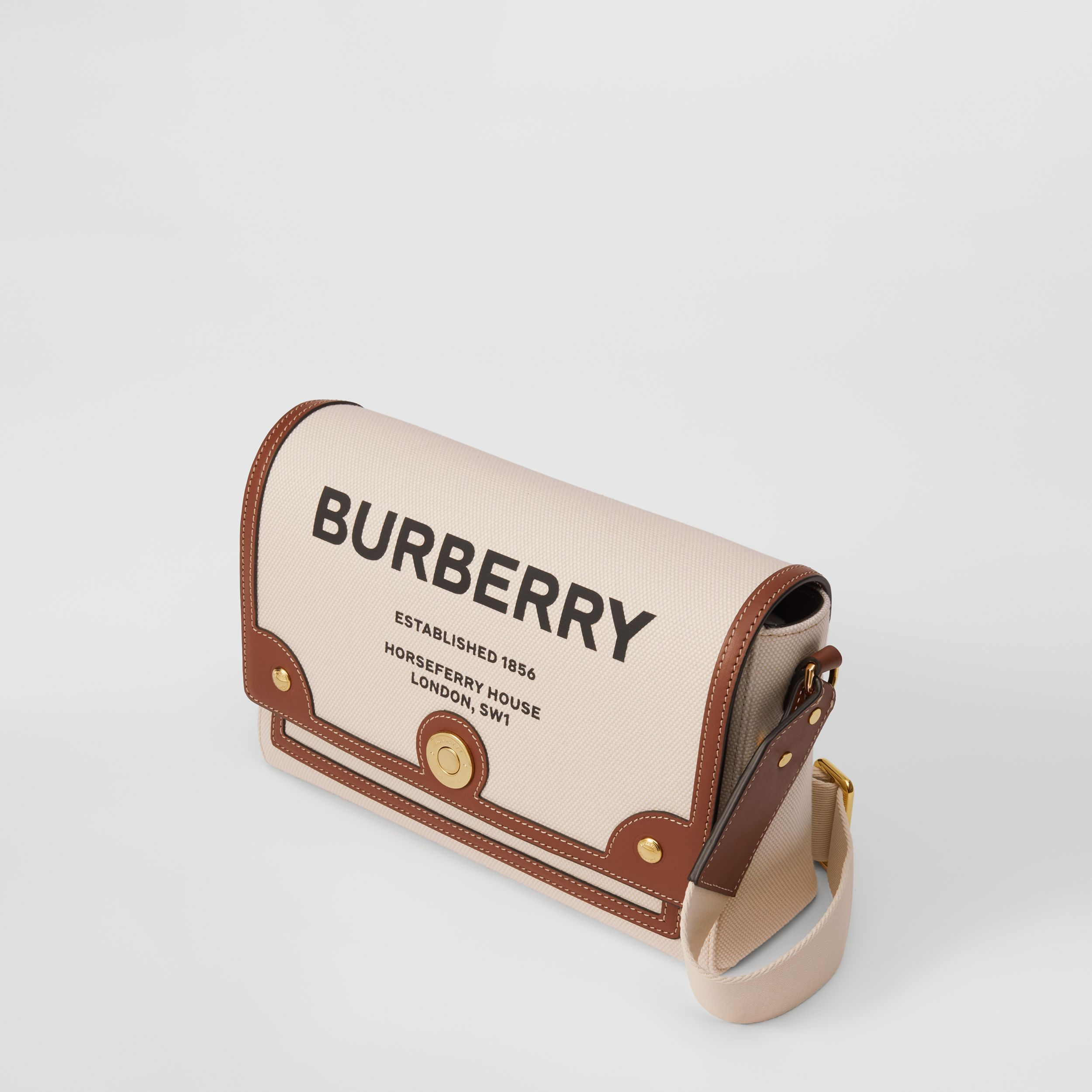 Horseferry Print Canvas Note Crossbody Bag in Natural/tan - Women | Burberry - 3