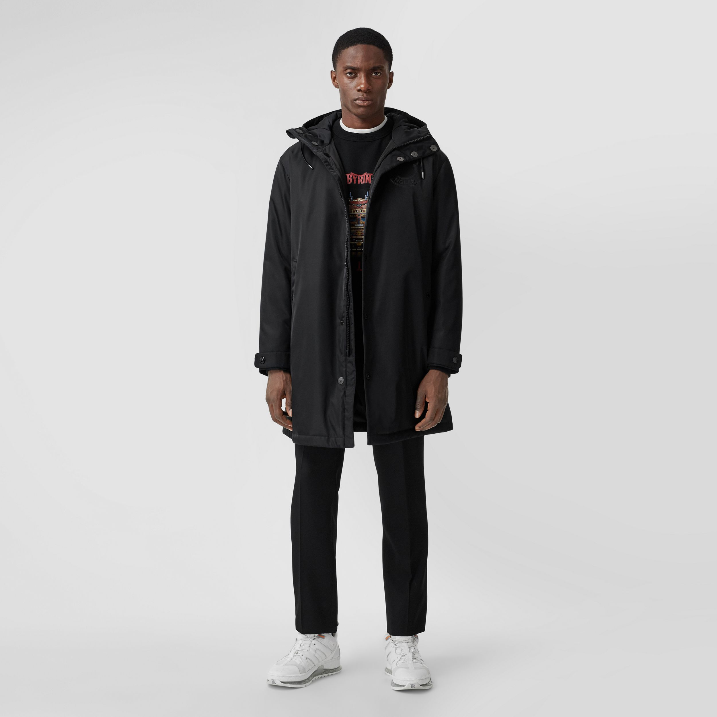 Logo Graphic Technical Twill Parka in Black - Men | Burberry - 1