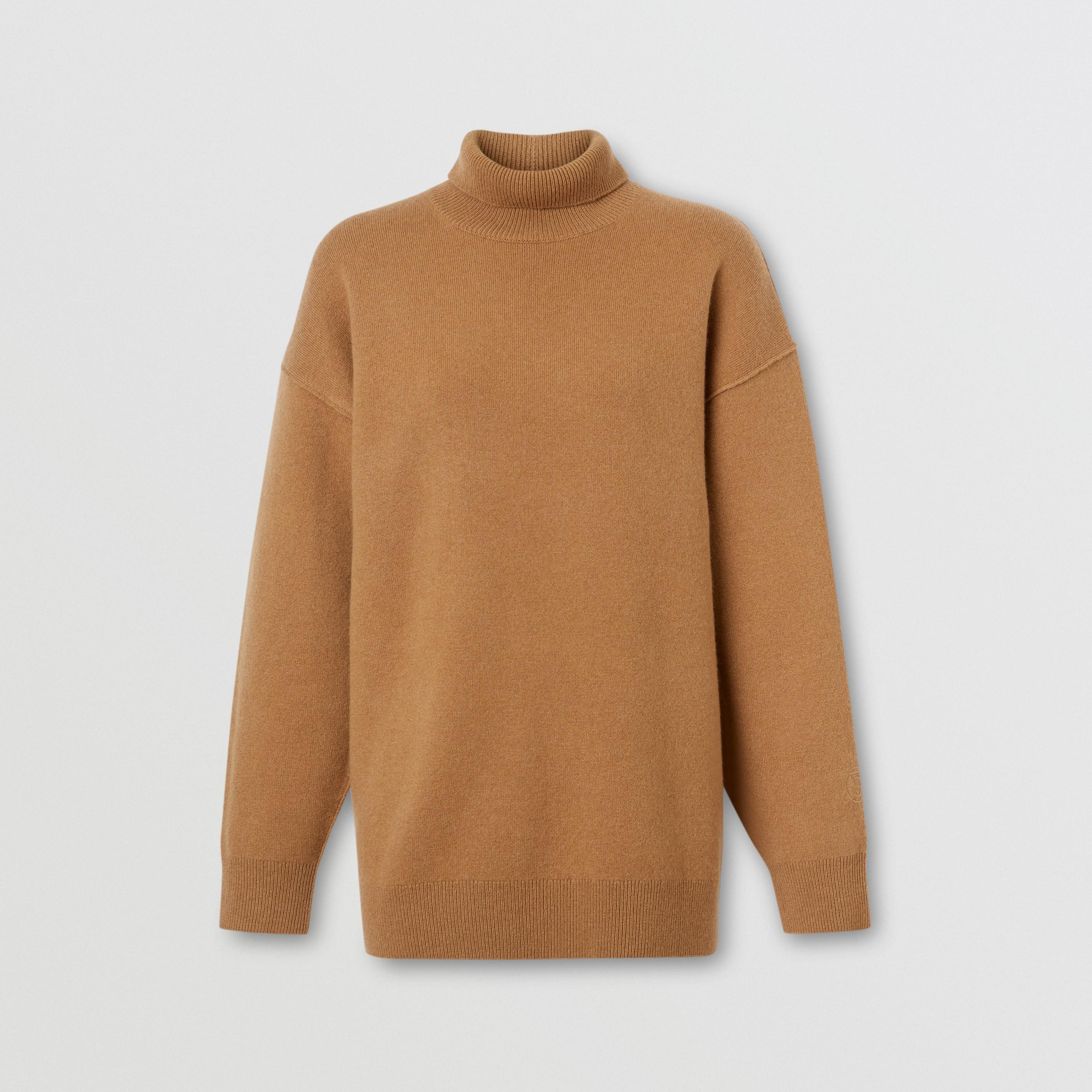 Pullover con collo a imbuto in misto cashmere con monogramma (Cammello) - Donna | Burberry - 3