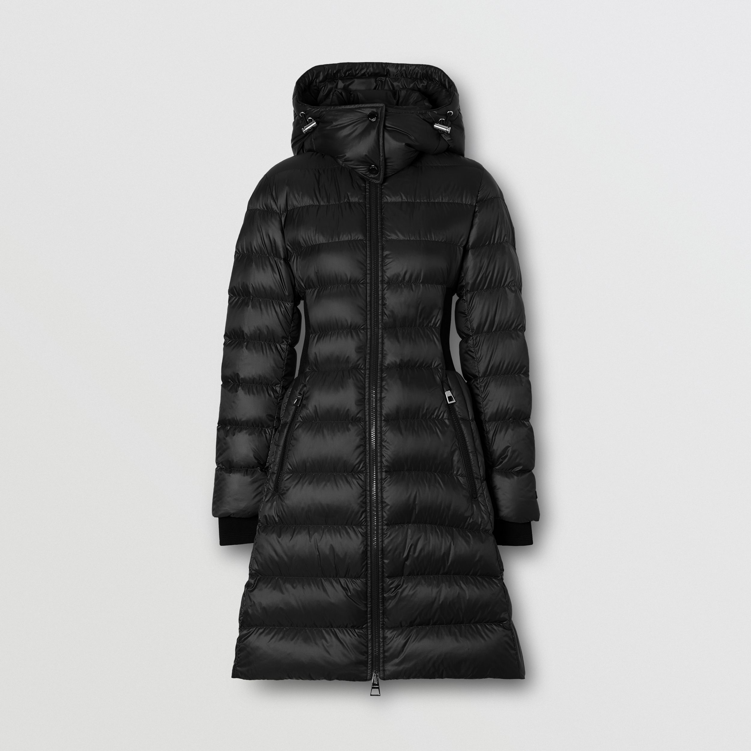 Detachable Hood Rib Knit Panel ECONYL® Puffer Coat in Black - Women | Burberry - 4