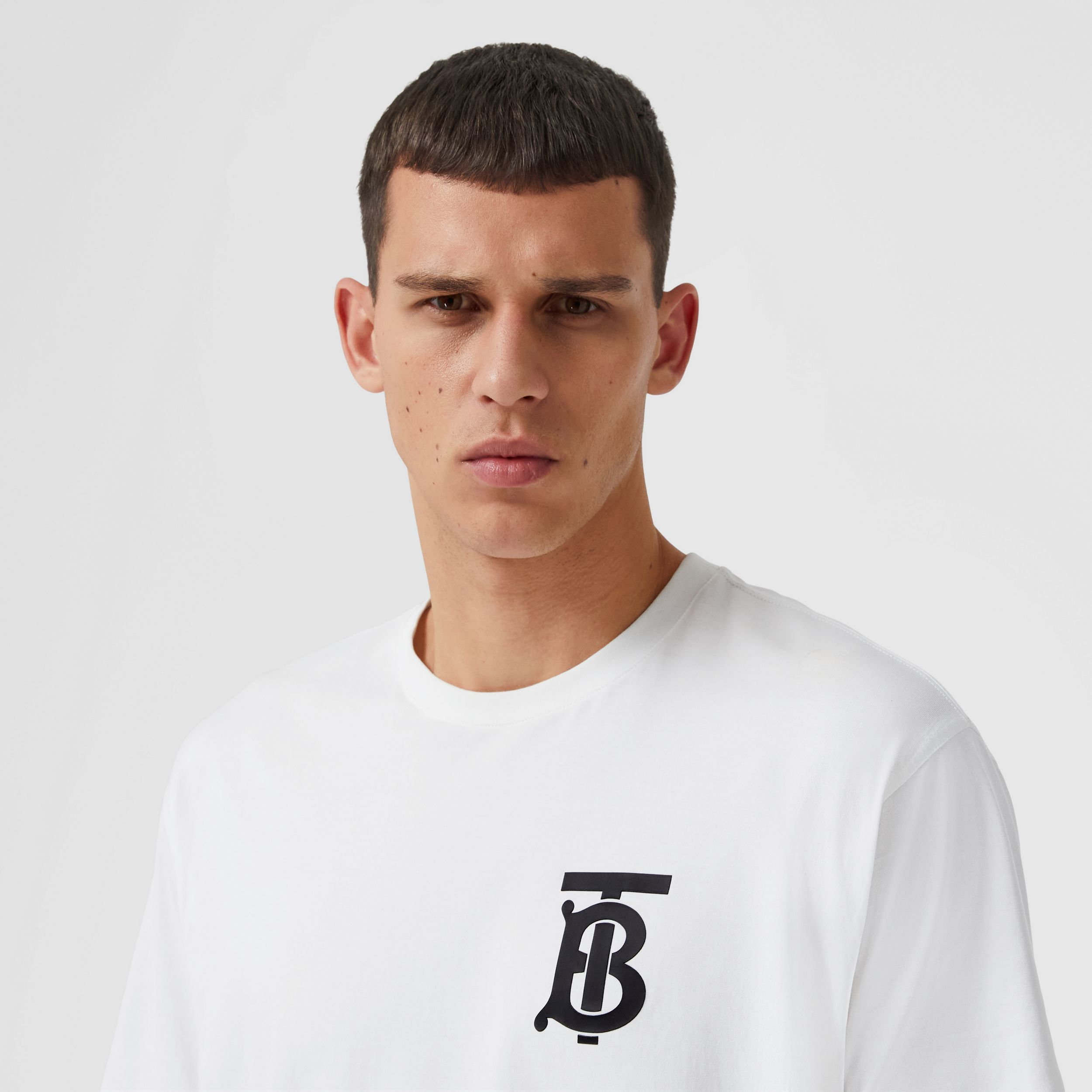 Monogram Motif Cotton Oversized T-shirt in White - Men | Burberry Australia - 2