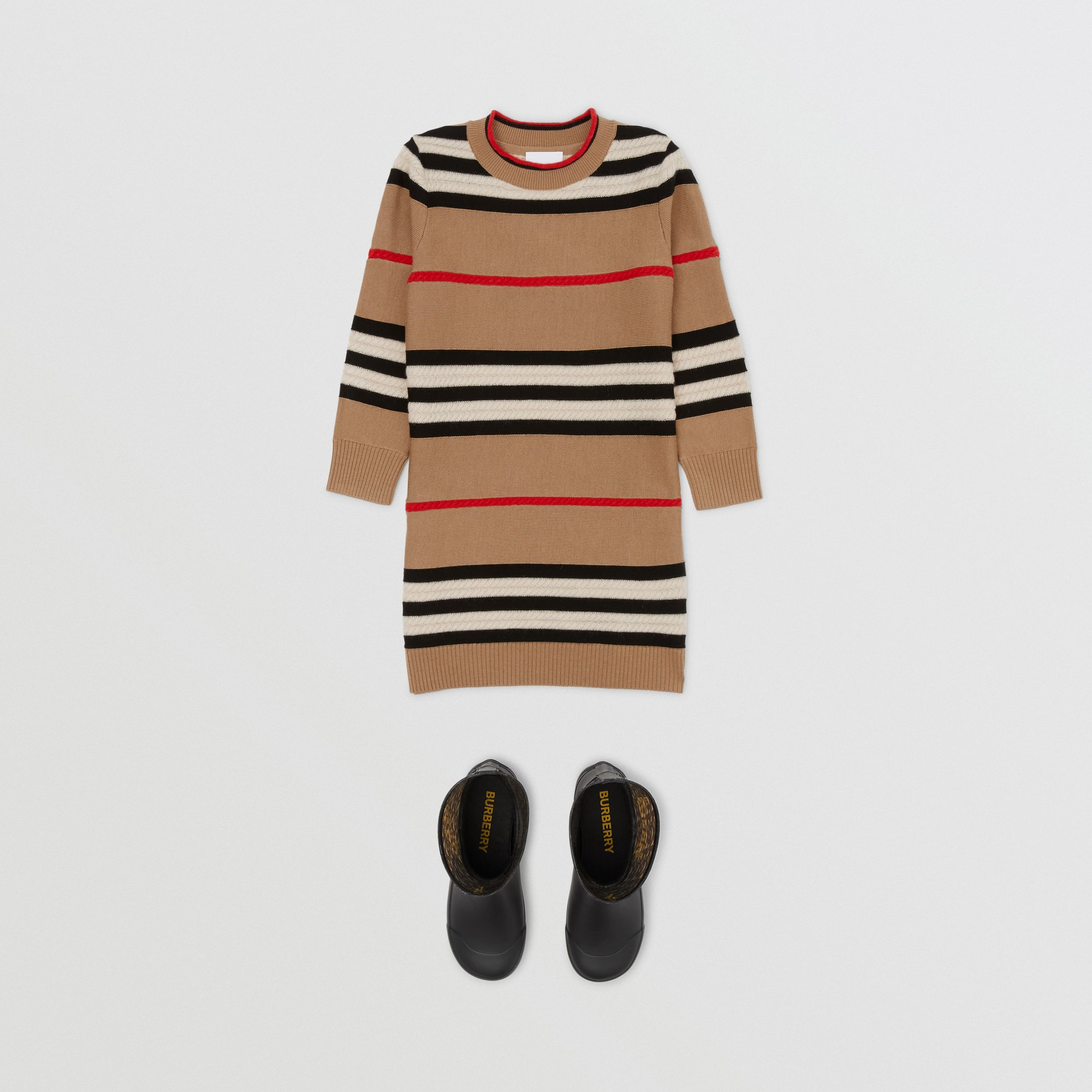 Icon Stripe Wool Cashmere Sweater Dress in Archive Beige | Burberry Australia - 3