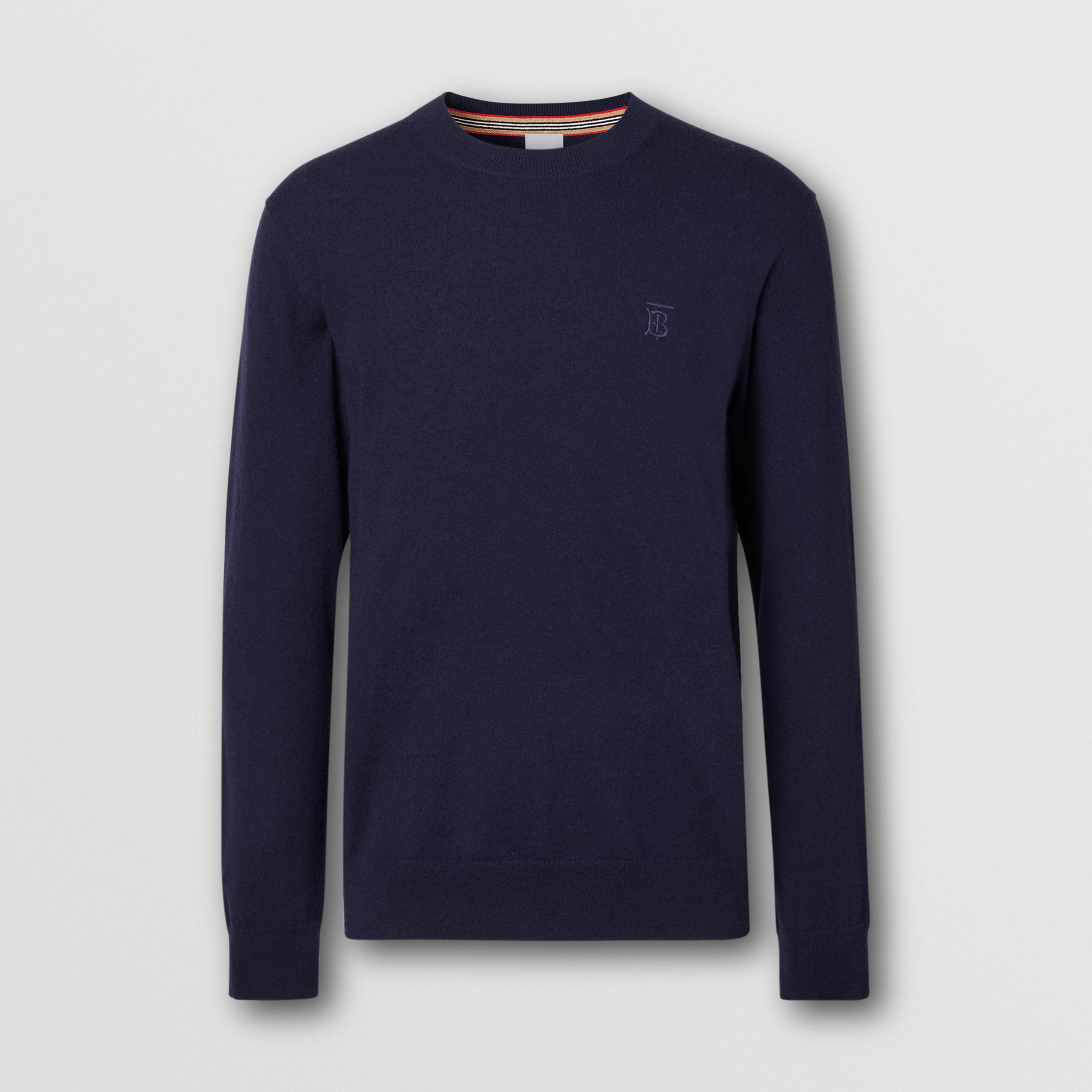 Monogram Motif Cashmere Sweater in Navy - Men | Burberry - 4