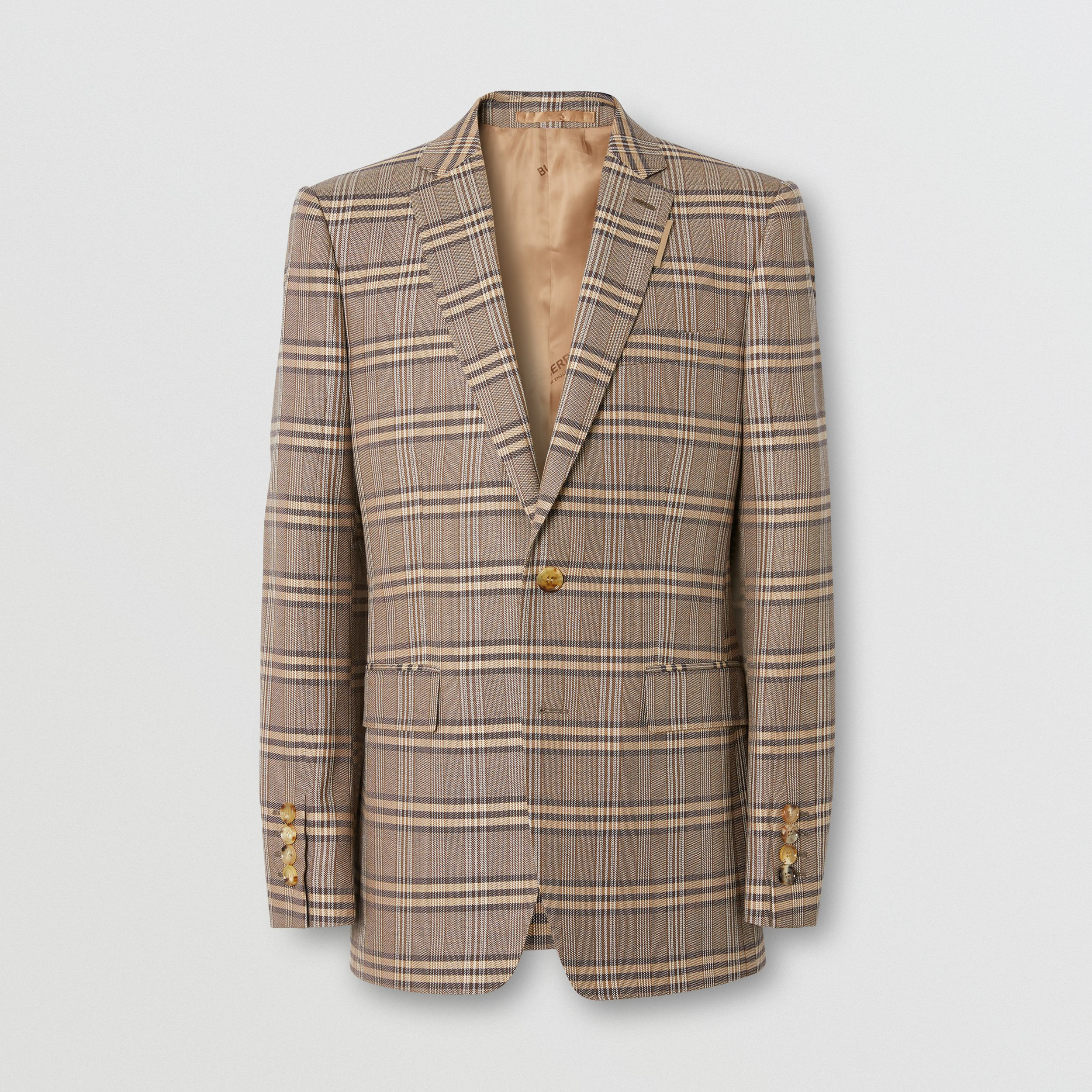 Prince of Wales Check Wool Silk Tailored Jacket in Dusty Caramel | Burberry - 1