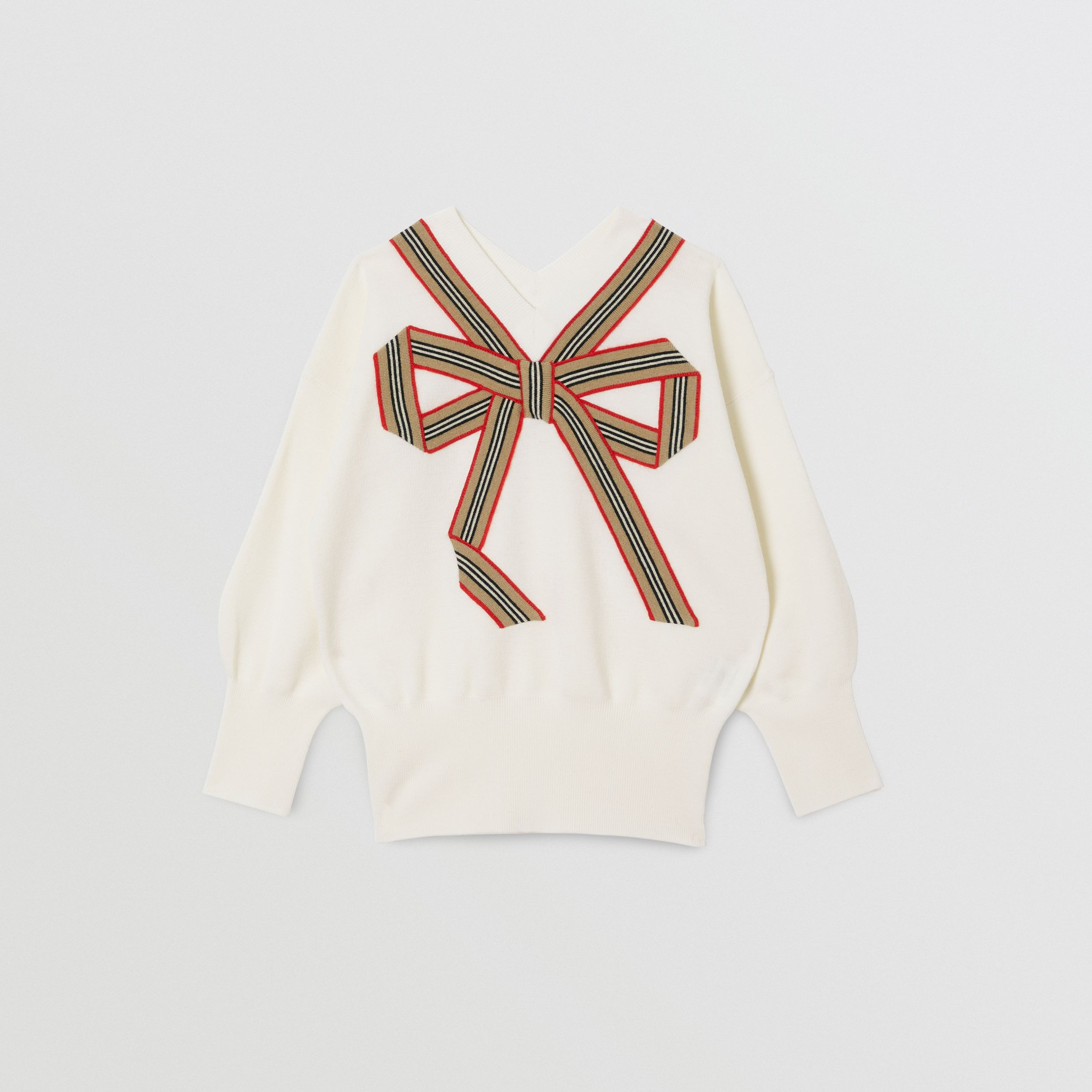 Icon Stripe Bow Merino Wool Silk Sweater | Burberry Canada - 1