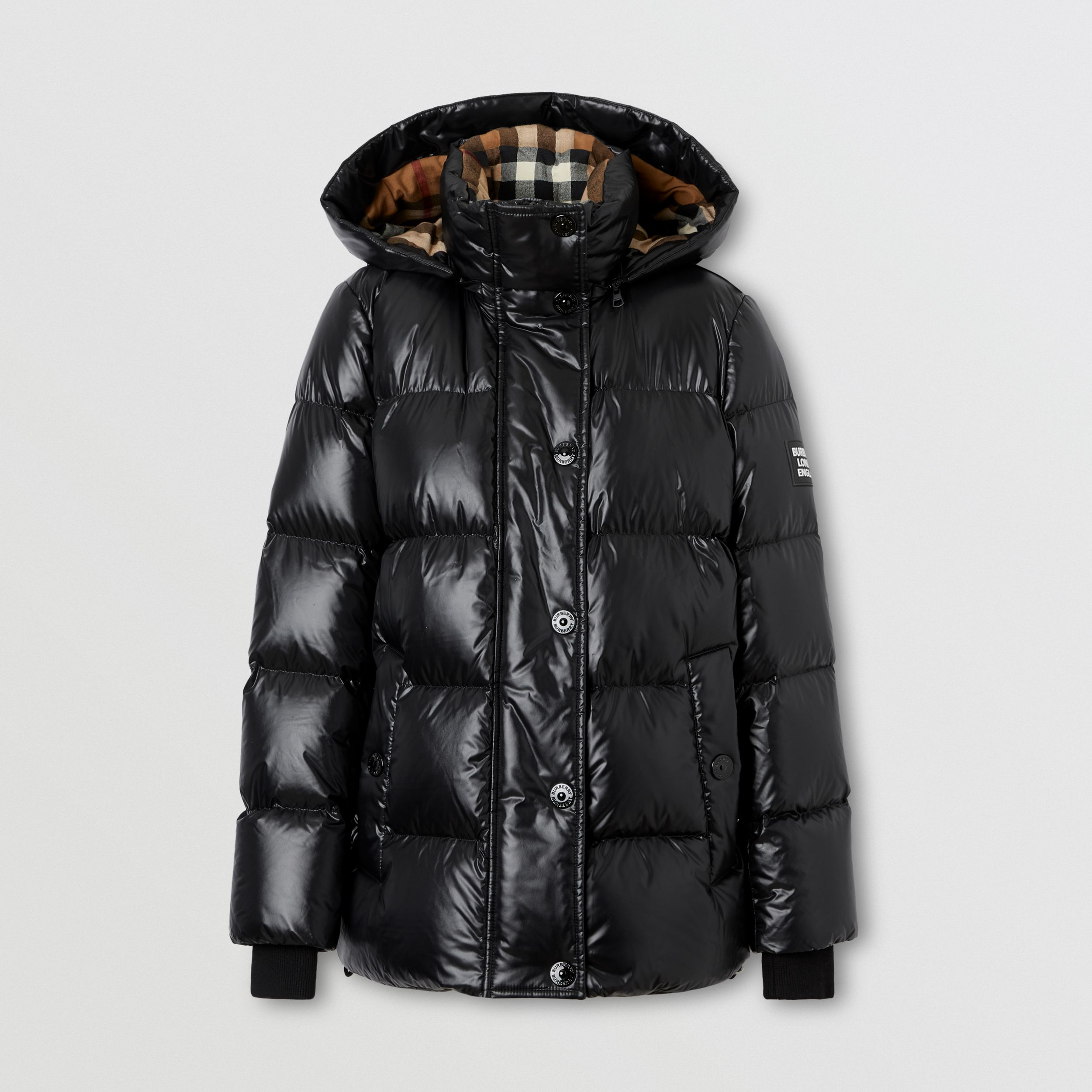 Detachable Hood Logo Appliqué Puffer Jacket in Black - Women | Burberry - 4