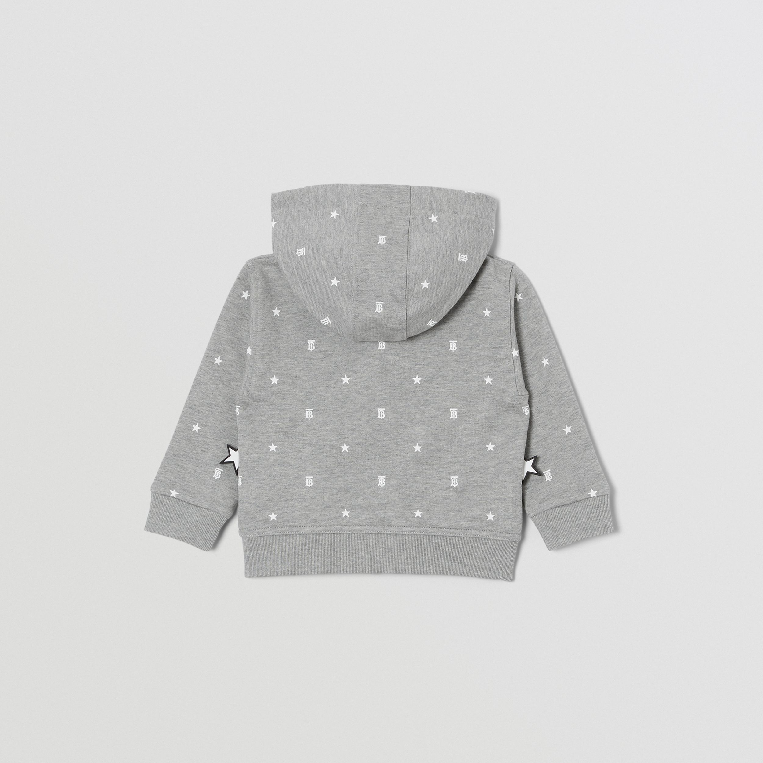 Star and Monogram Print Cotton Hooded Top in Grey - Children | Burberry - 4