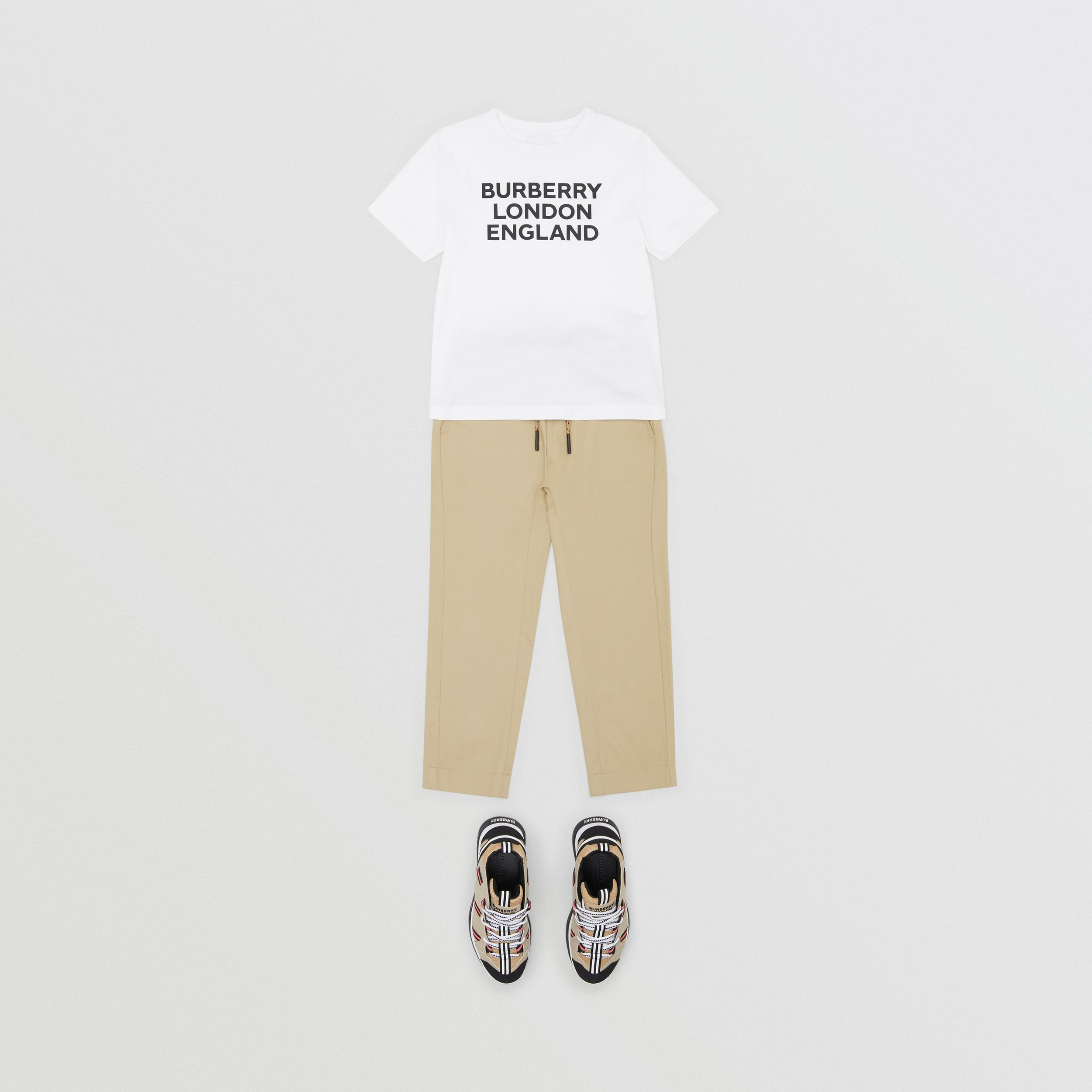 Logo Print Cotton T-shirt in White | Burberry - 4