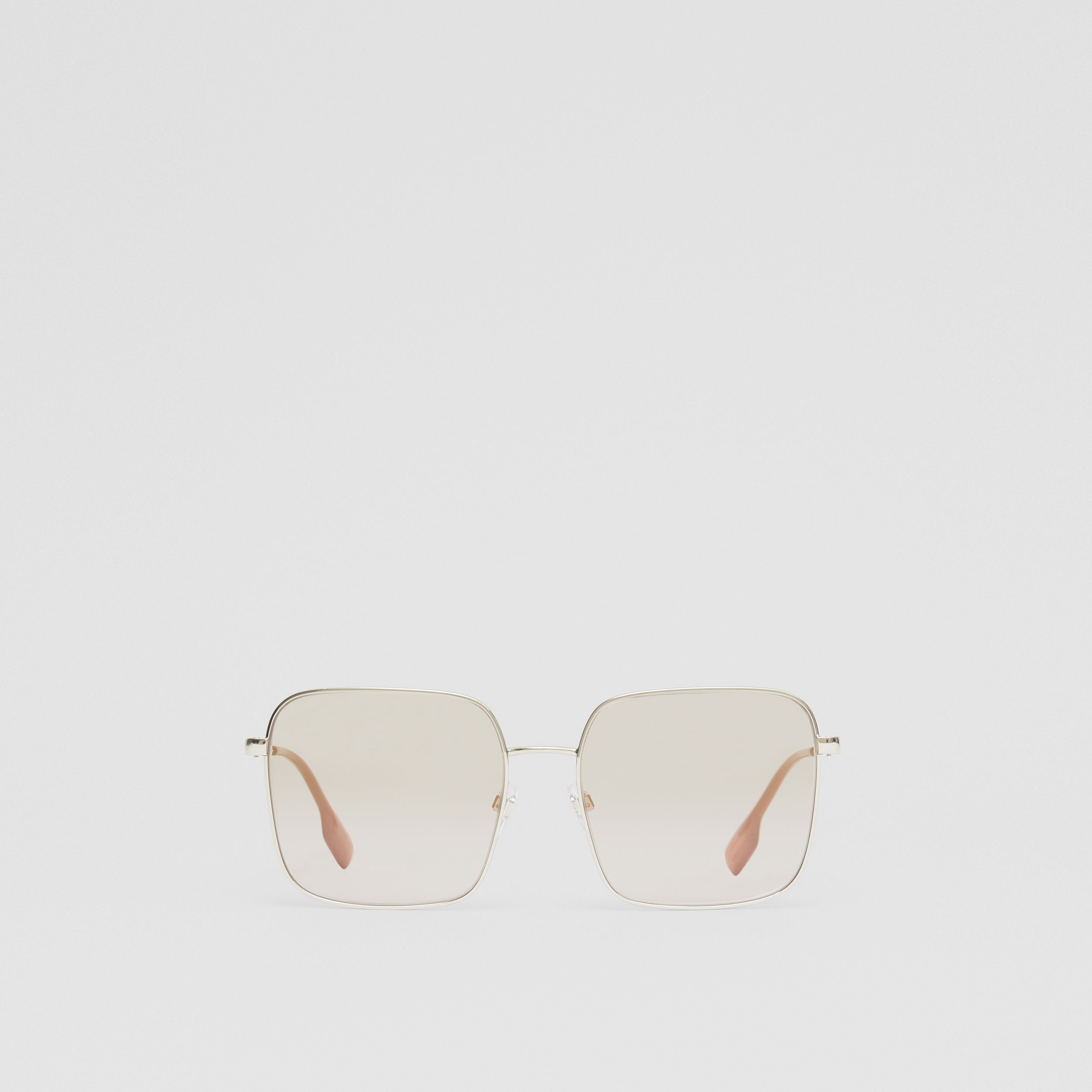 Oversized Square Frame Sunglasses in Nude Pink - Women | Burberry - 1