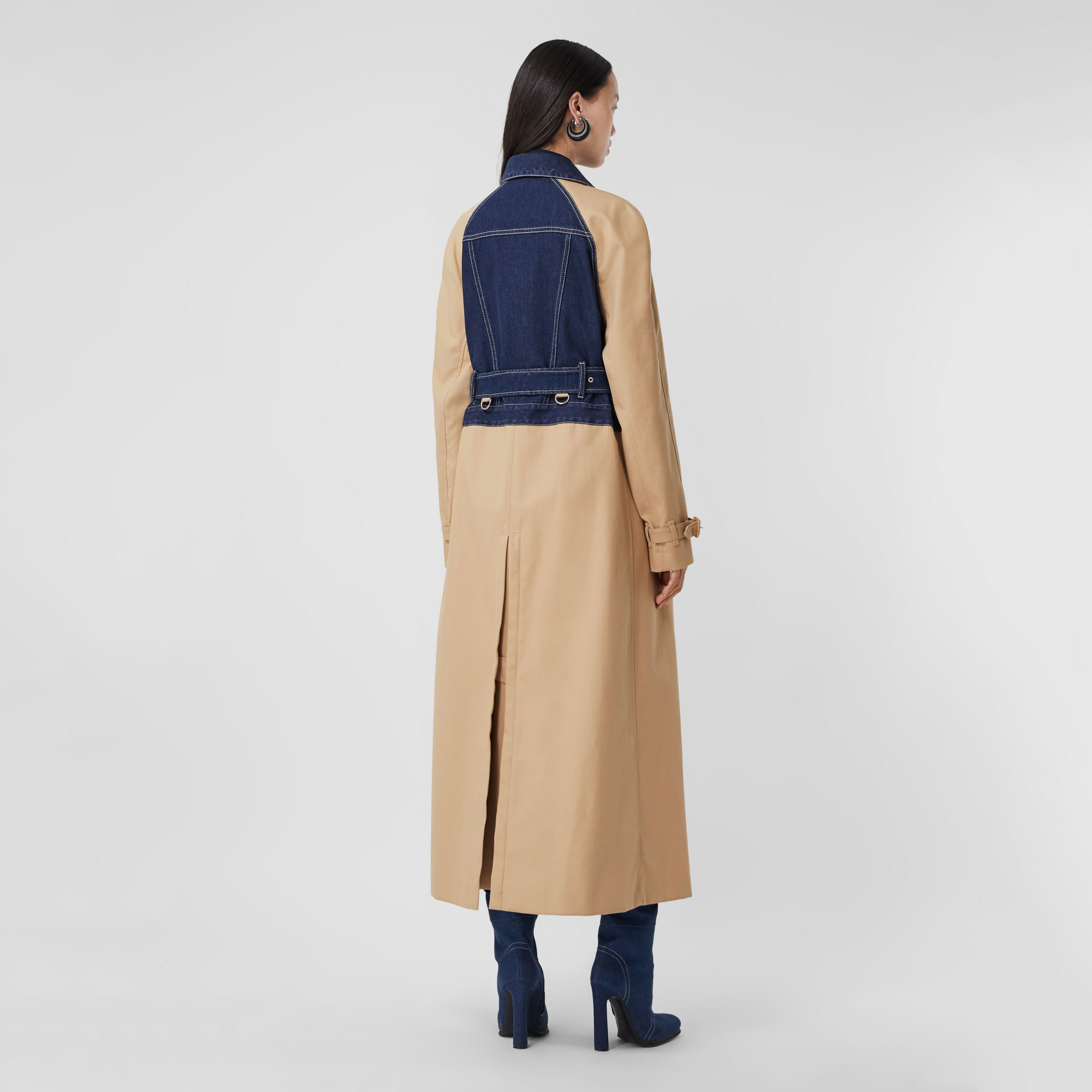Panelled Cotton Gabardine Trench Coat in Soft Fawn - Women | Burberry - 3