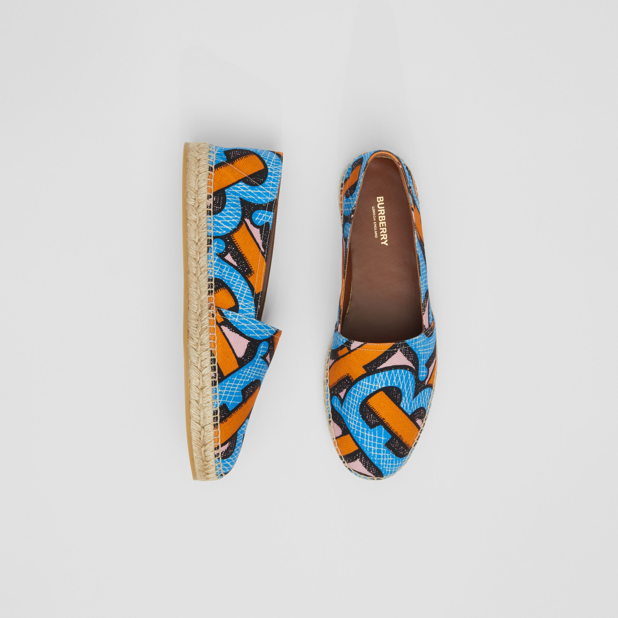 Monogram Print Cotton Canvas Espadrilles in Bright Cobalt - Men | Burberry - 1