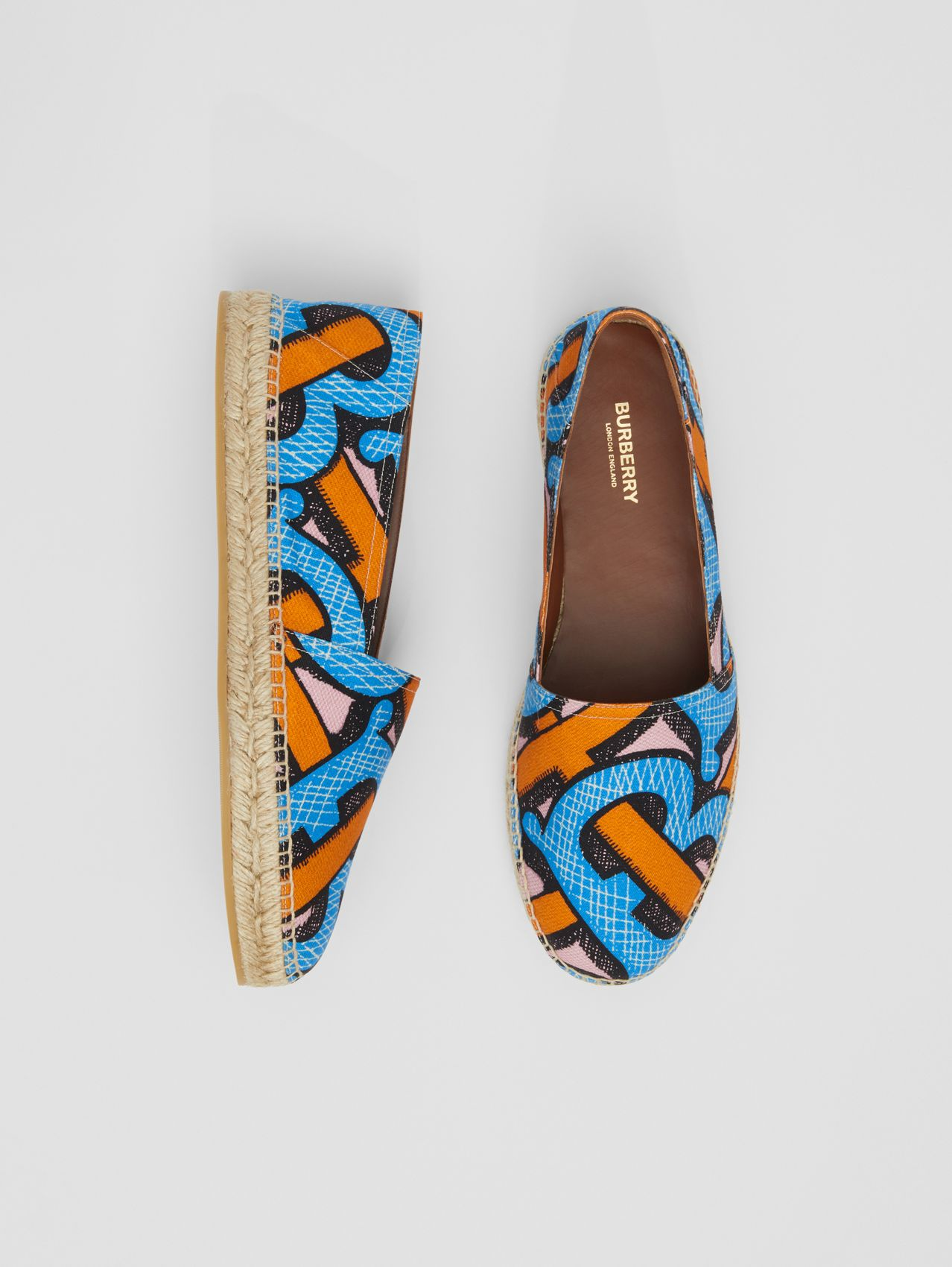 Monogram Print Cotton Canvas Espadrilles (Bright Cobalt)