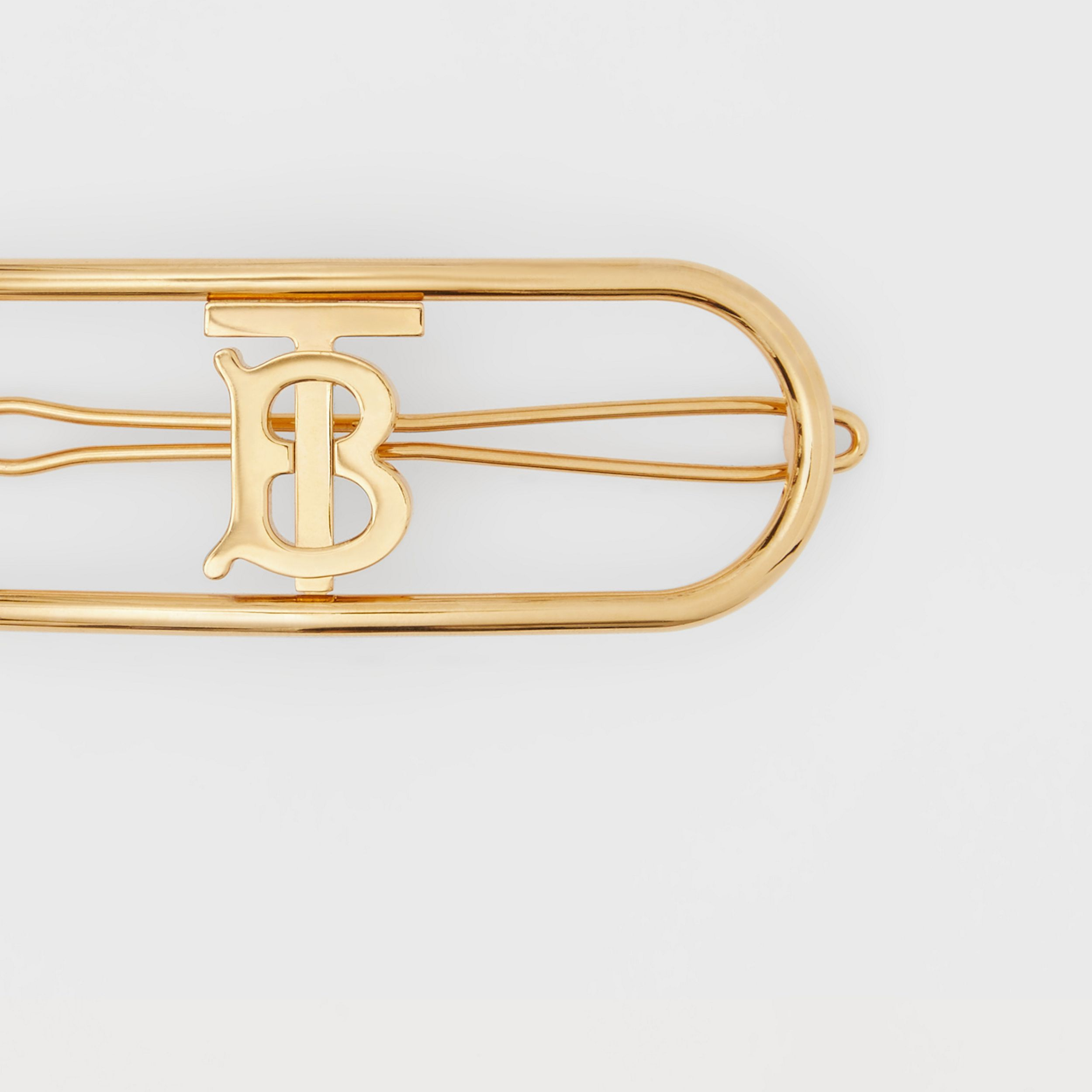Gold-plated Monogram Motif Hair Clip in Light - Women | Burberry - 2