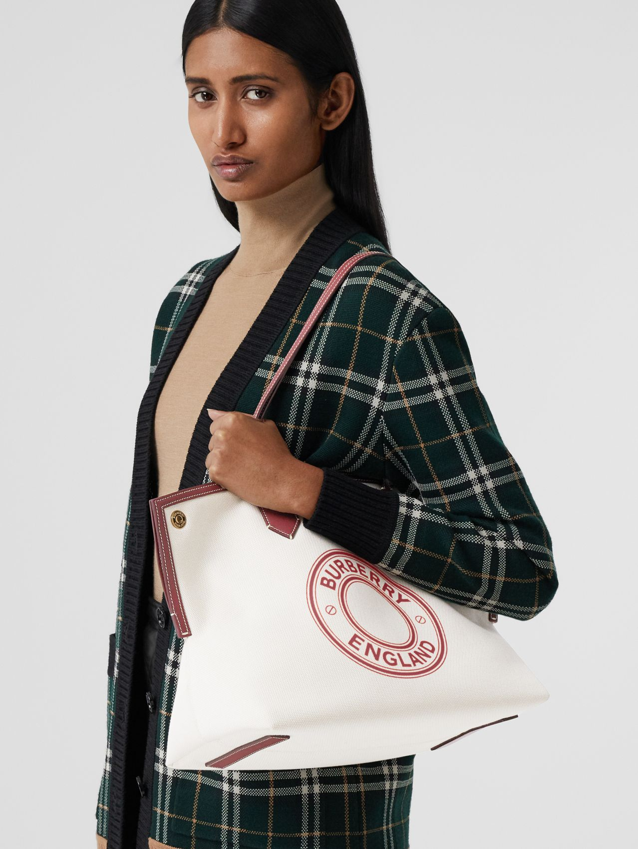 Medium Logo Graphic Cotton Canvas Society Tote in Natural/garnet/geranium