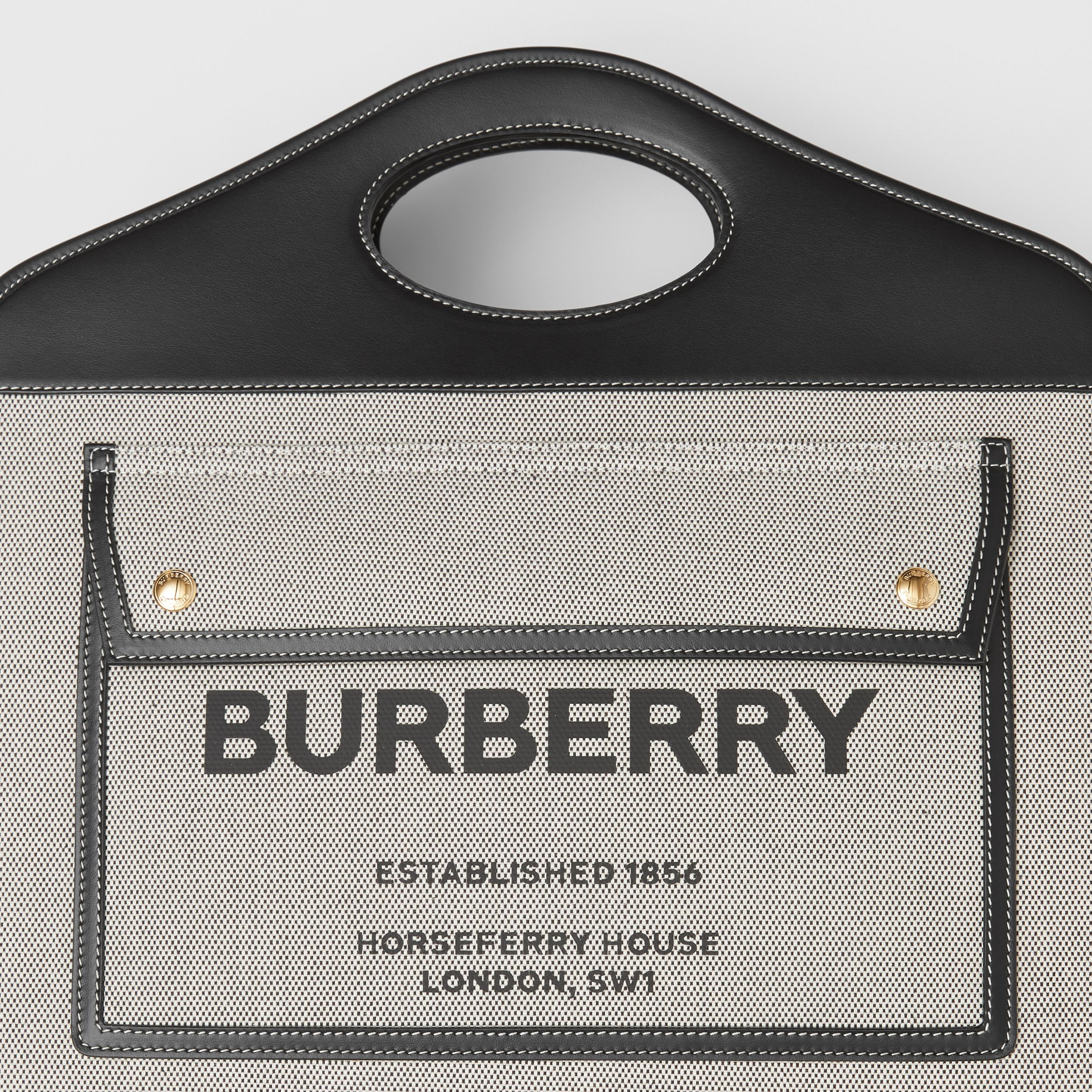 Medium Two-tone Canvas and Leather Pocket Tote in Black - Women | Burberry - 2