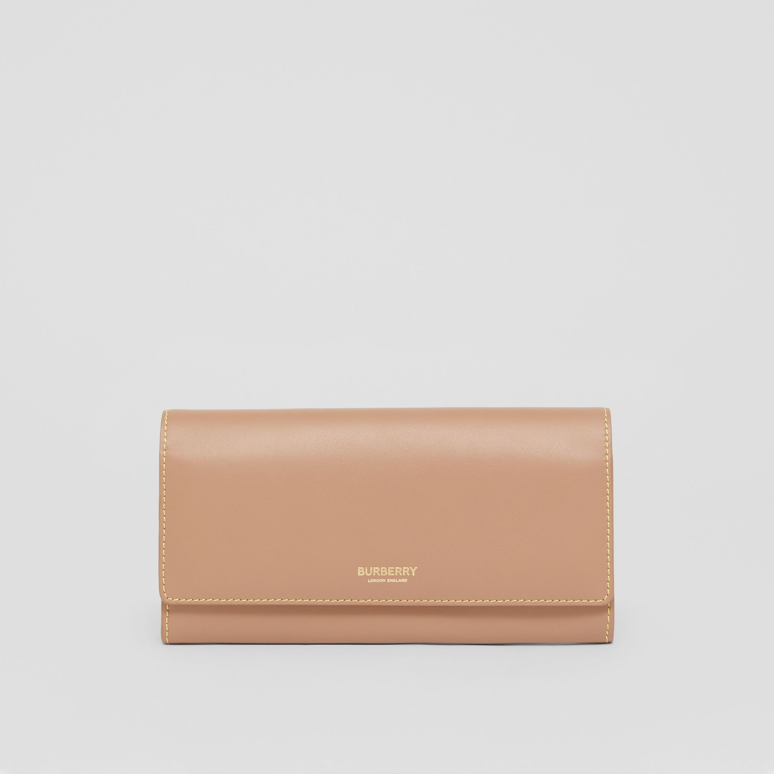 Topstitched Two-tone Leather Continental Wallet in Camel - Women | Burberry - 1