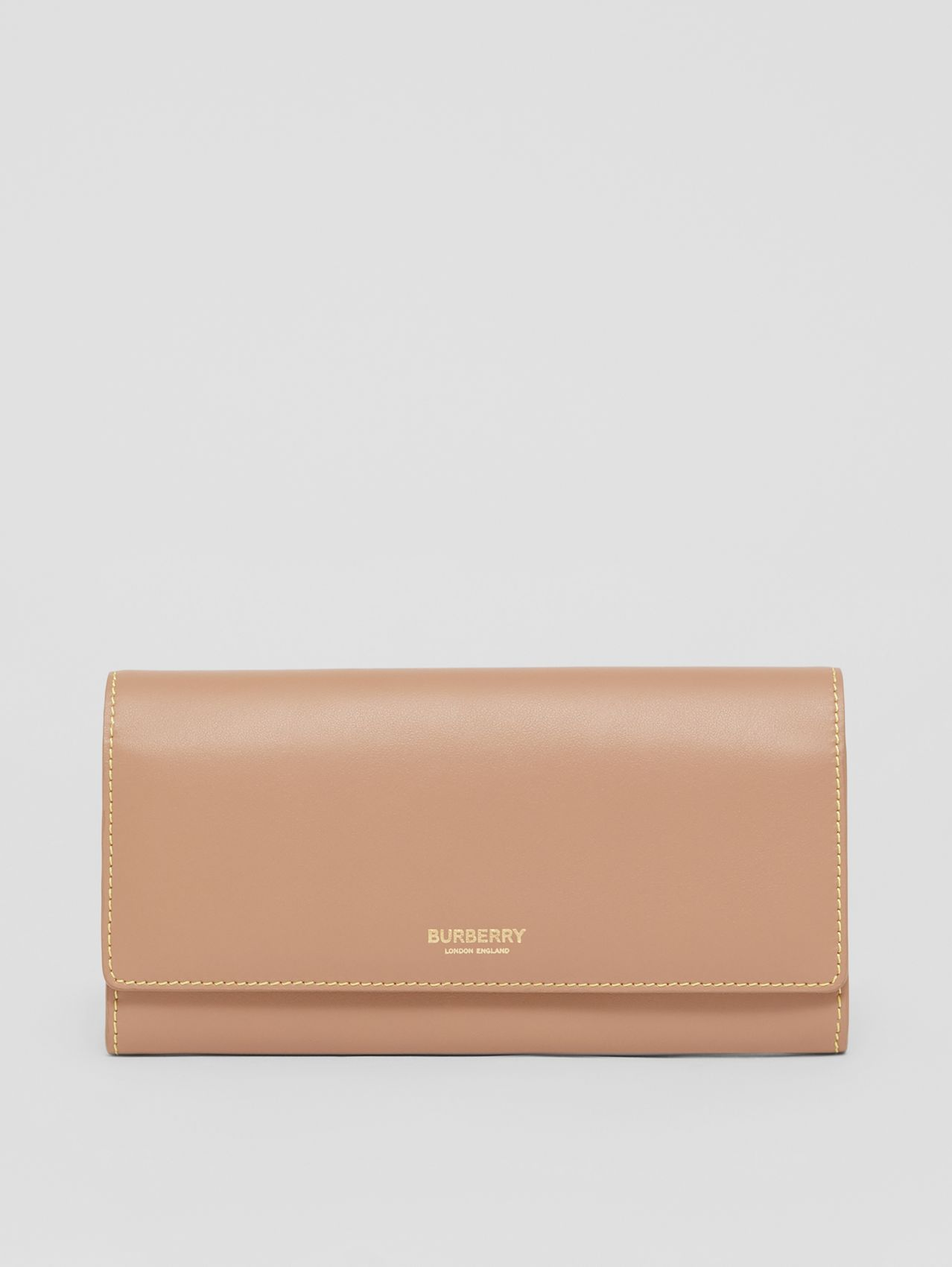 Topstitched Two-tone Leather Continental Wallet in Camel
