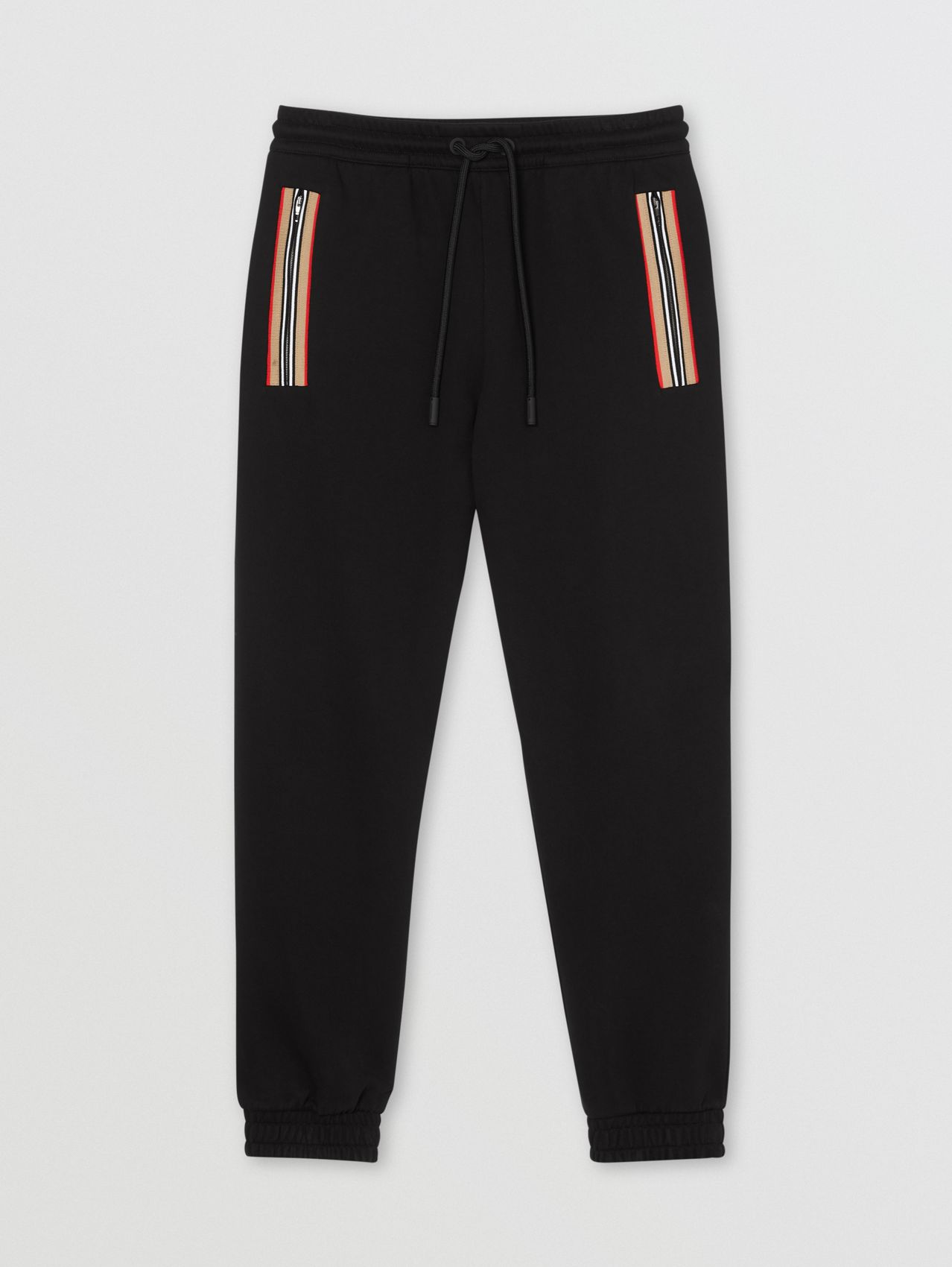 Icon Stripe Detail Organic Cotton Jogging Pants in Black