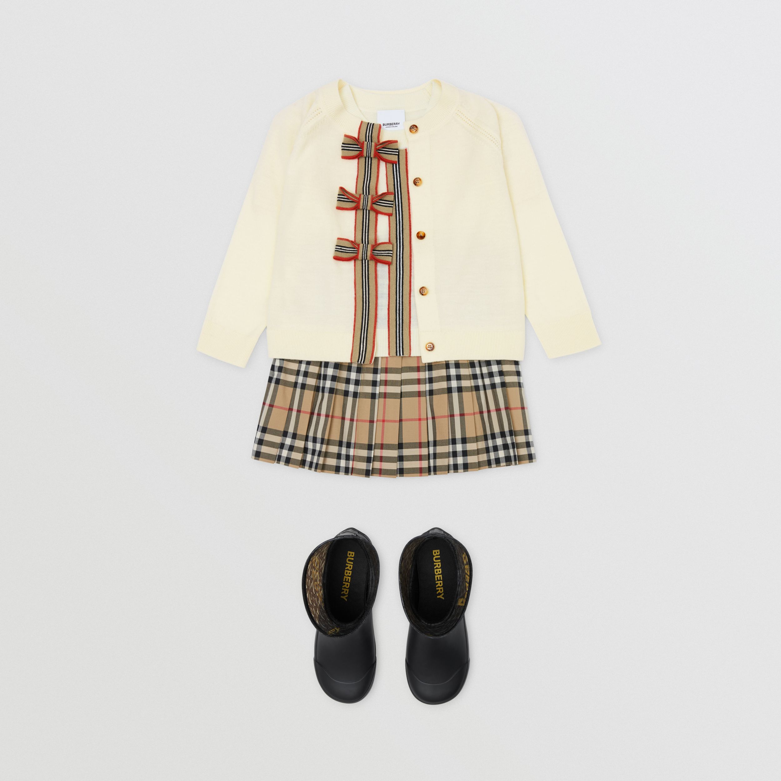 Icon Stripe Trim Merino Wool Two-piece Set in Ivory | Burberry - 3