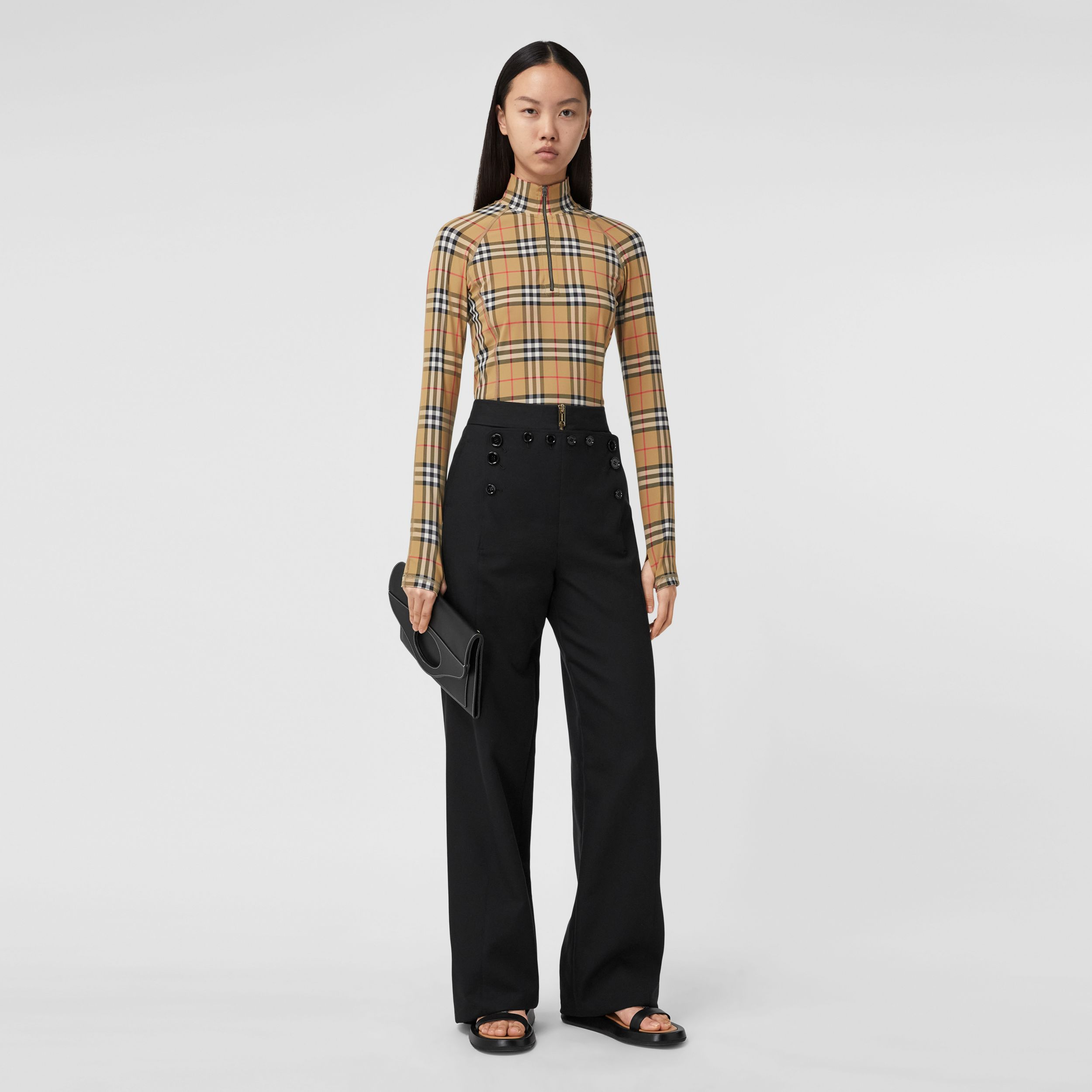 Vintage Check Stretch Jersey Turtleneck Top in Archive Beige - Women | Burberry - 1