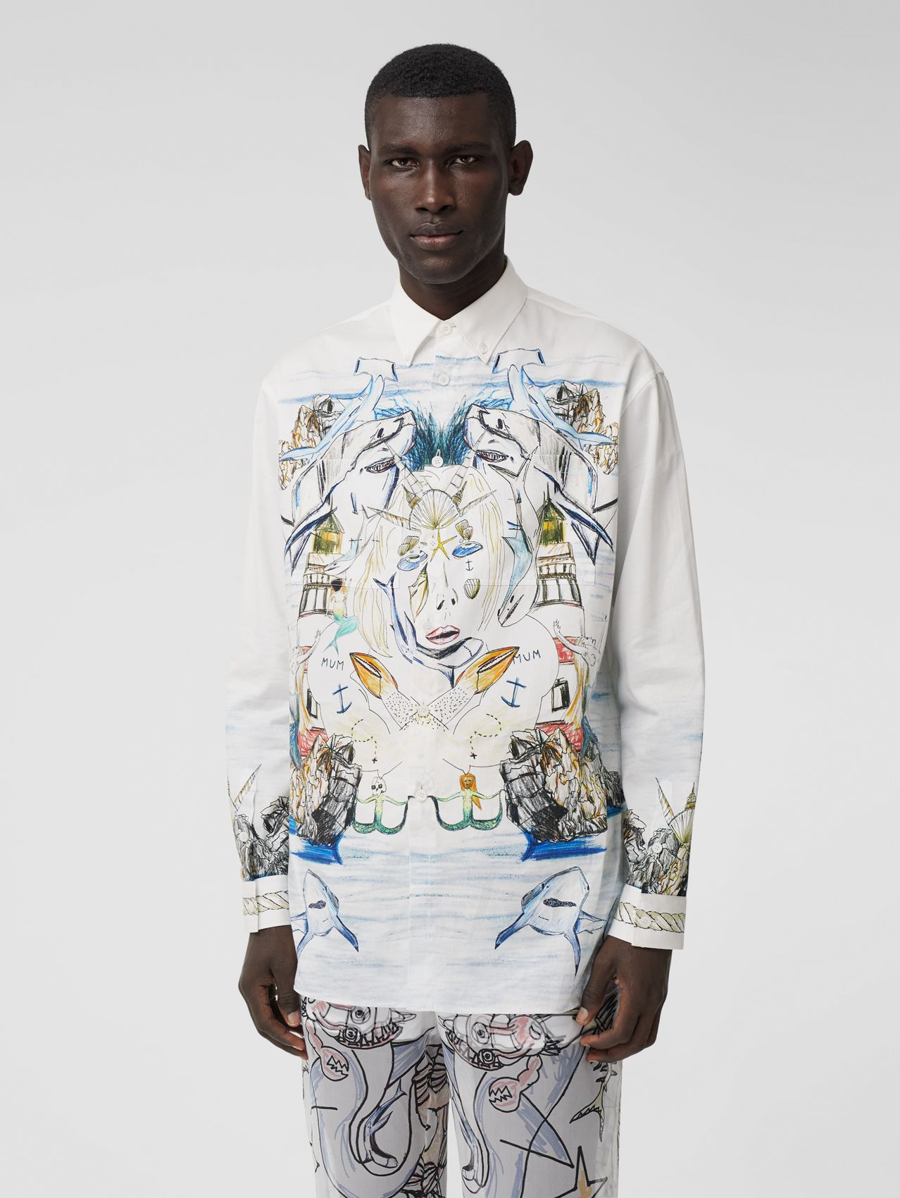 Marine Sketch Print Cotton Satin Shirt in White